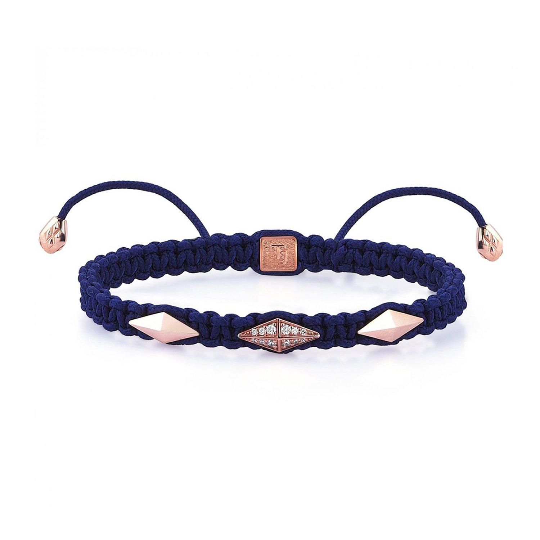 Blue Macrame Iconic Diamondback (3) Silver Bracelet in Rose with Diamonds