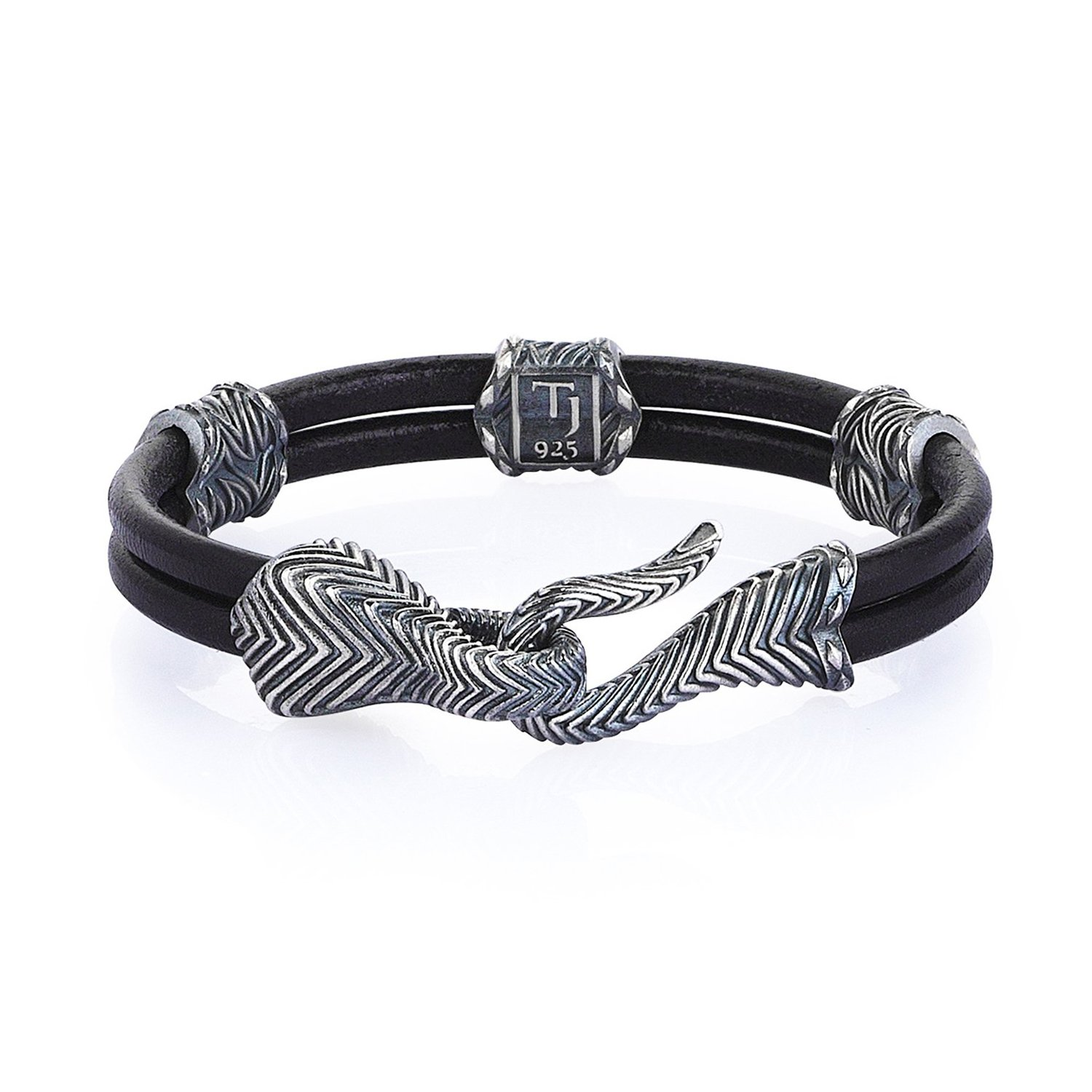 Oxidised Silver Serpi Bracelet in Natural Black Leather