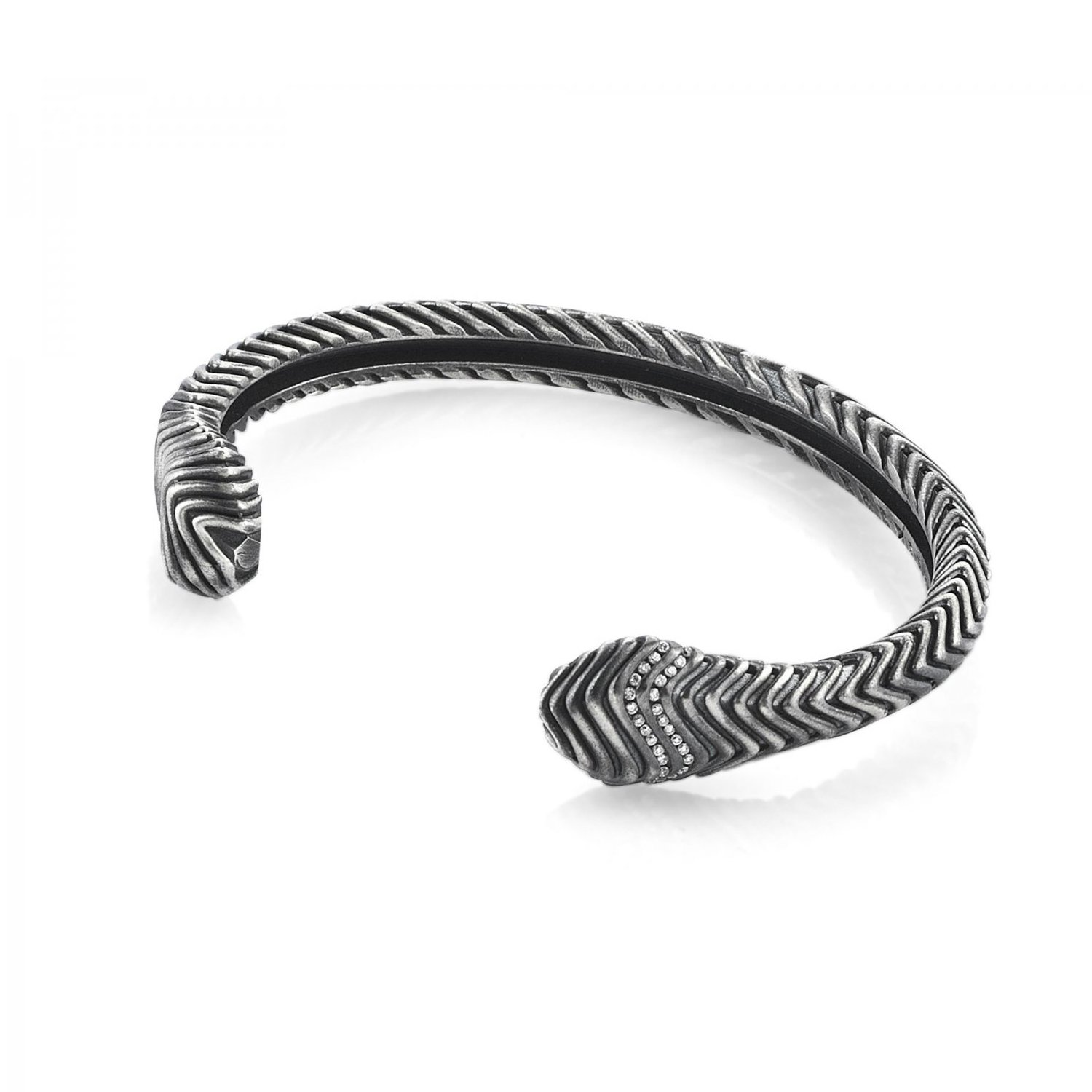 Oxidised Silver Serpi Cuff with Diamonds