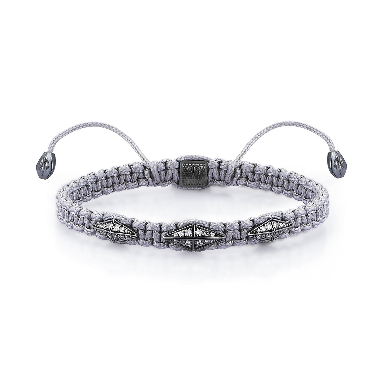 Gray Macrame Iconic Diamondback (3) Silver Bracelet in Black Rhodium with Full Diamonds