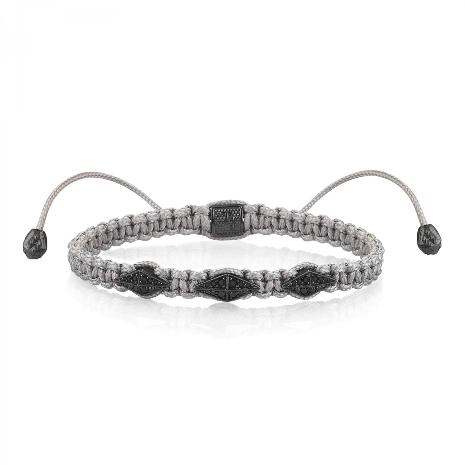 Gray Macrame Iconic Diamondback (3) Silver Bracelet in Black Rhodium with Full Black Diamonds