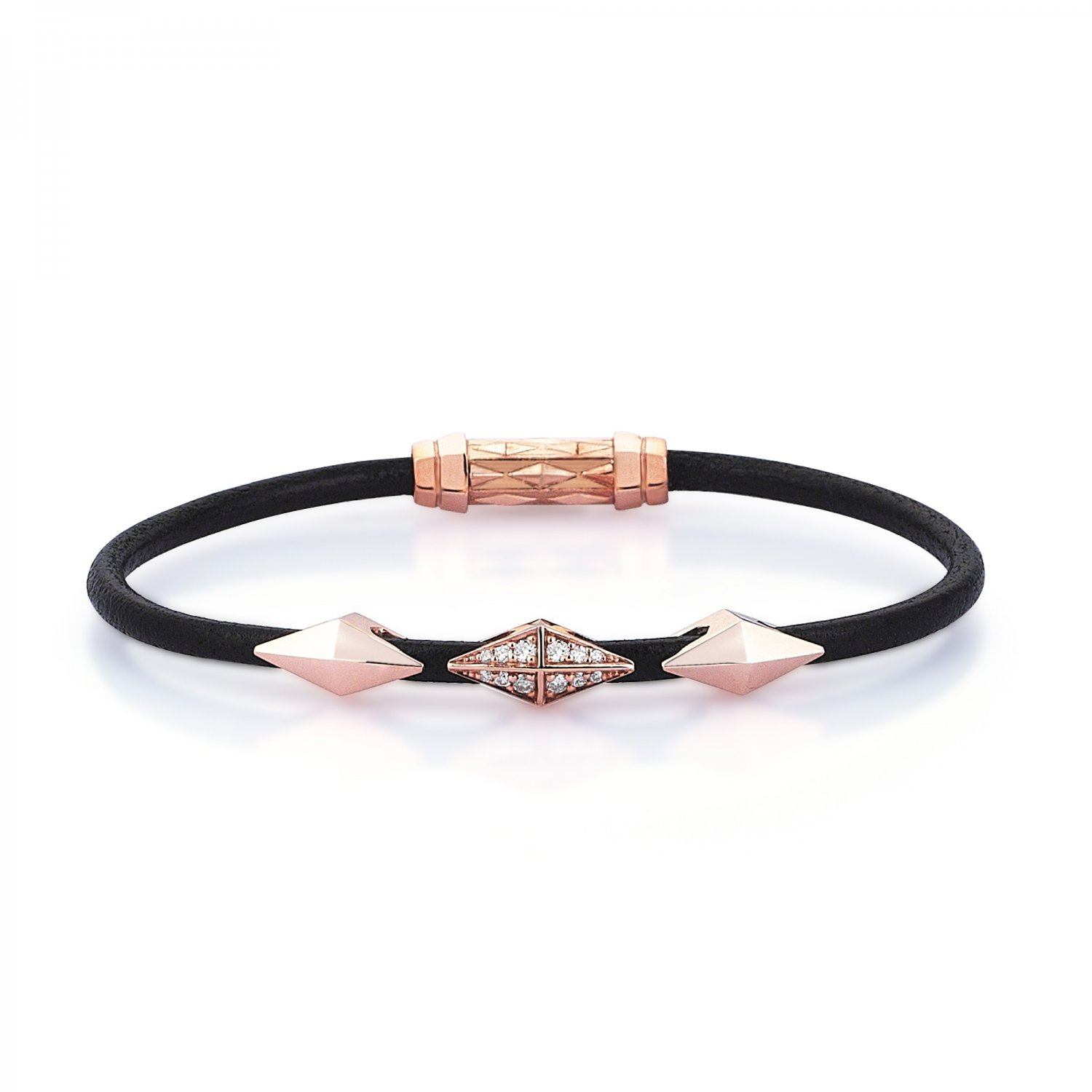 Single Lap Natural Black Leather Iconic Diamondback Silver Bracelet in Rose with Diamonds