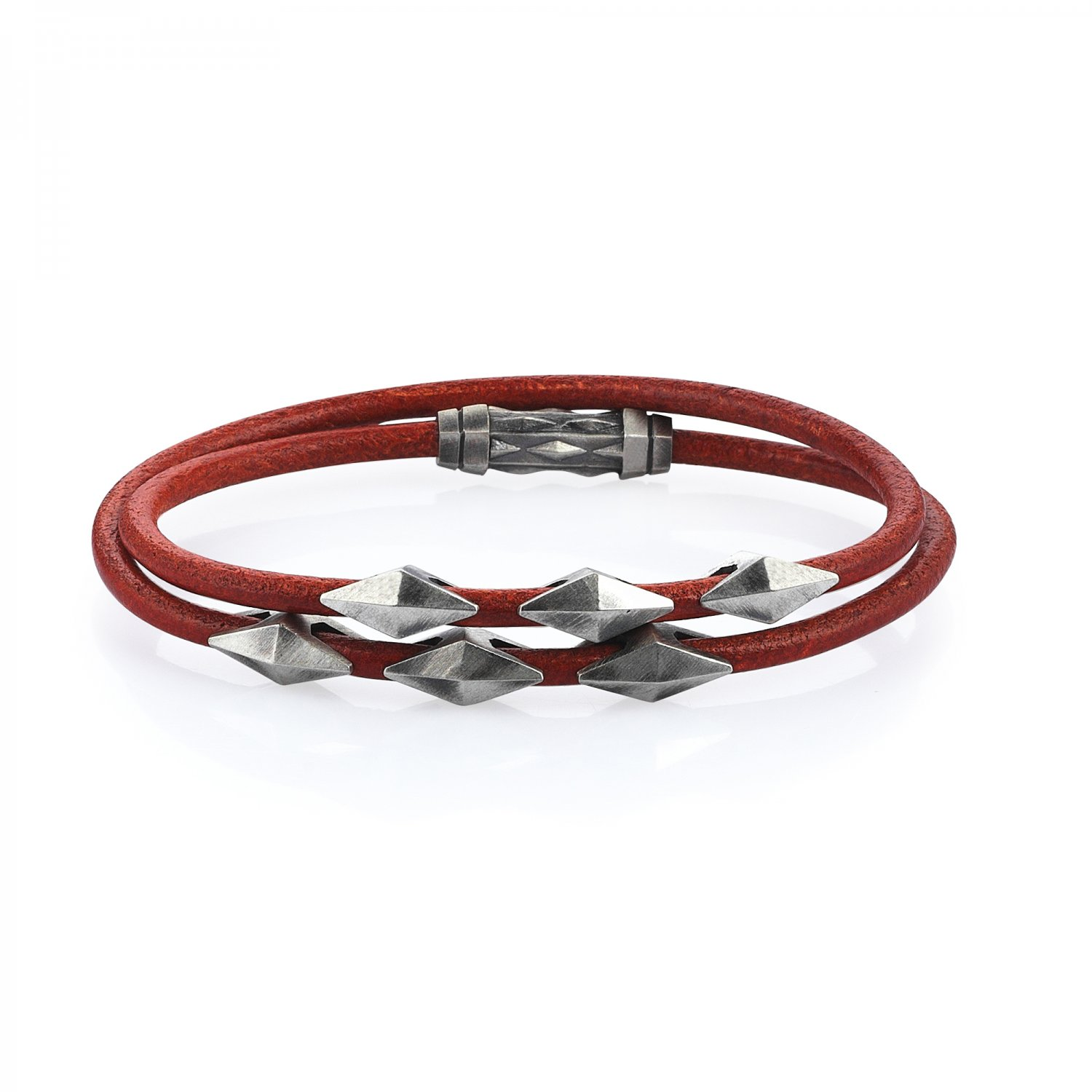 Double Lap Natural Orange Leather Oxidised Silver Iconic Diamondback Bracelet