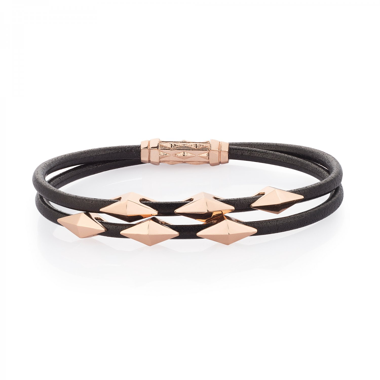 Double Lap Natural Black Leather Iconic Diamondback Silver Bracelet in Rose