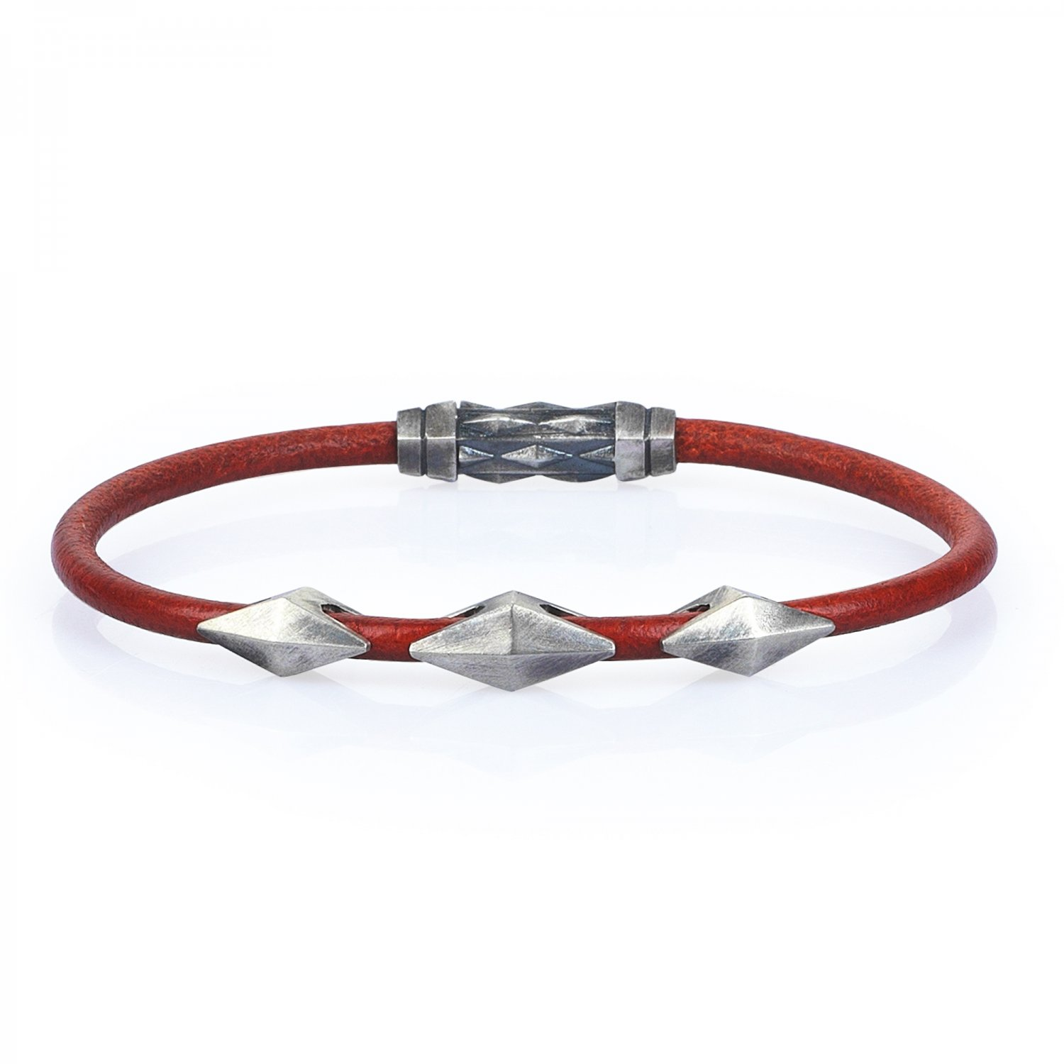Single Lap Natural Orange Leather Oxidised Silver Iconic Diamondback Bracelet