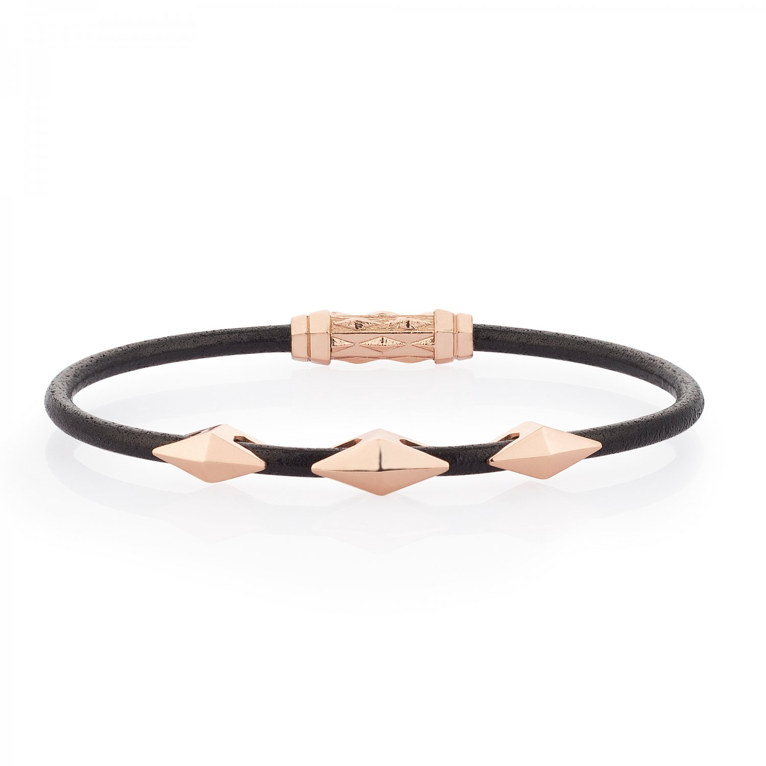 Single Lap Natural Black Leather Iconic Diamondback Silver Bracelet in Rose
