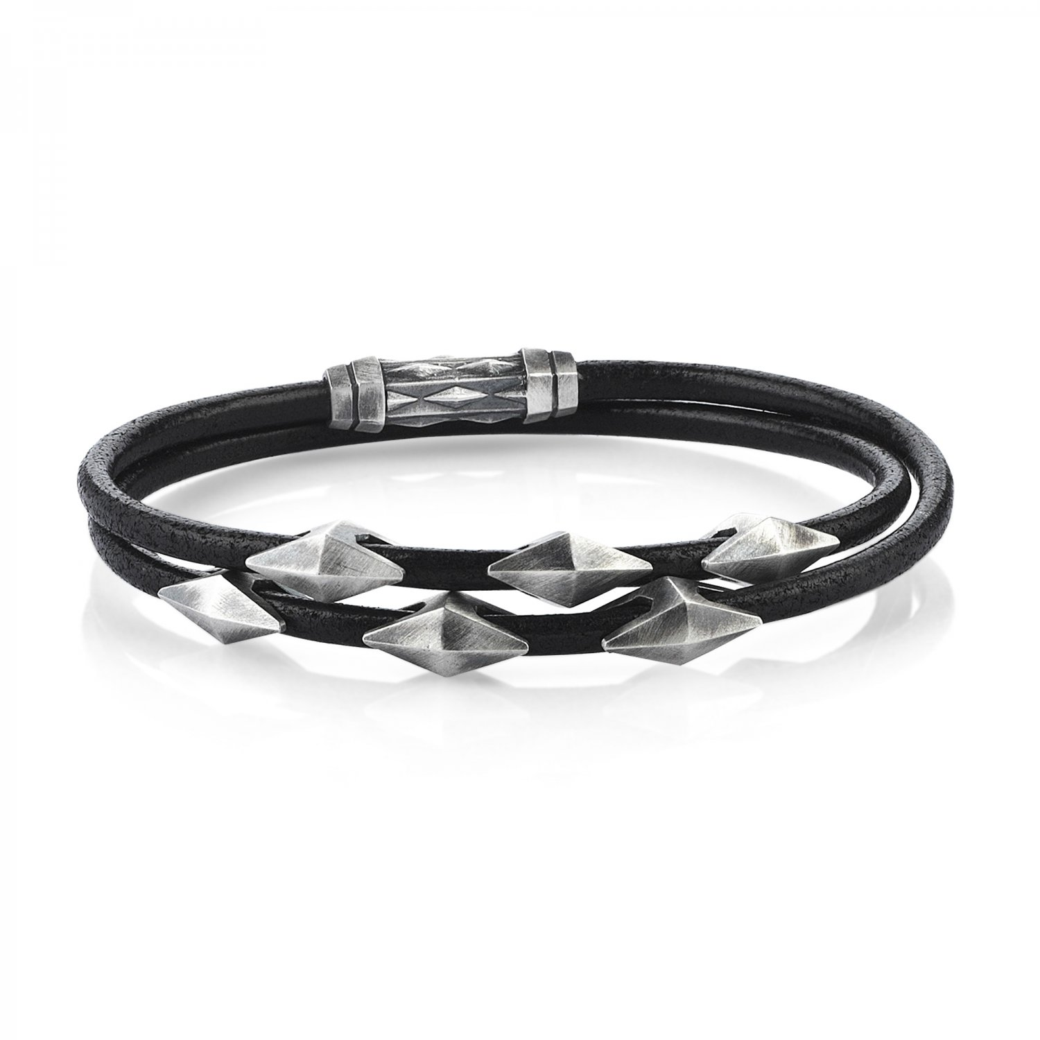 Double Lap Natural Black Leather Oxidised Silver Iconic Diamondback Bracelet