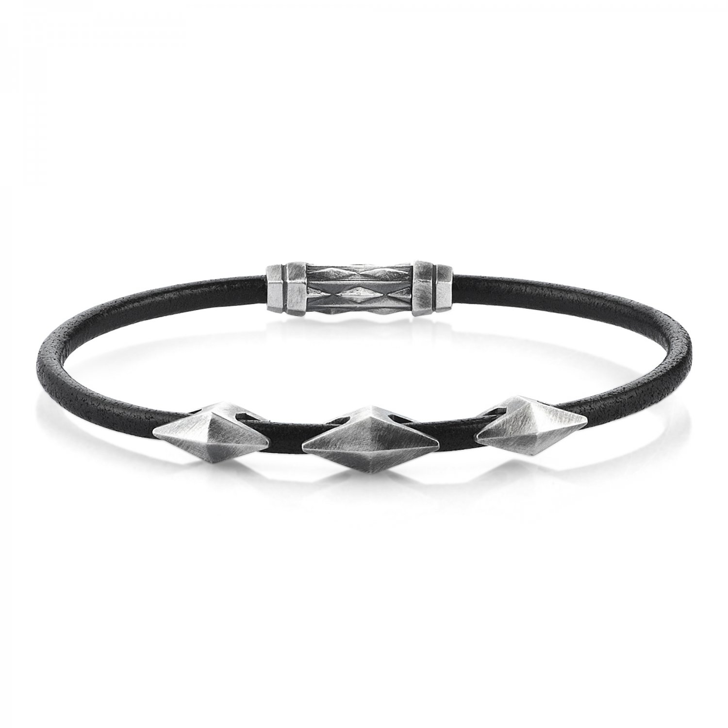 Single Lap Natural Black Leather Oxidised Silver Iconic Diamondback Bracelet