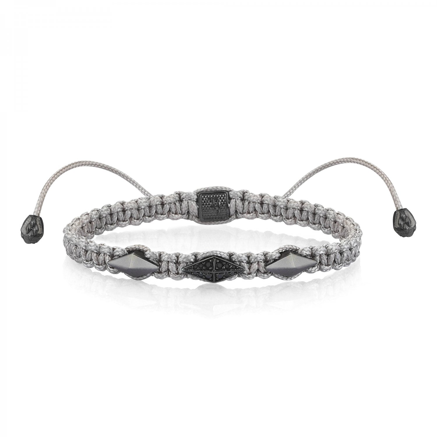 Gray Macrame Iconic Diamondback (3) Silver Bracelet in Black Rhodium with Black Diamonds