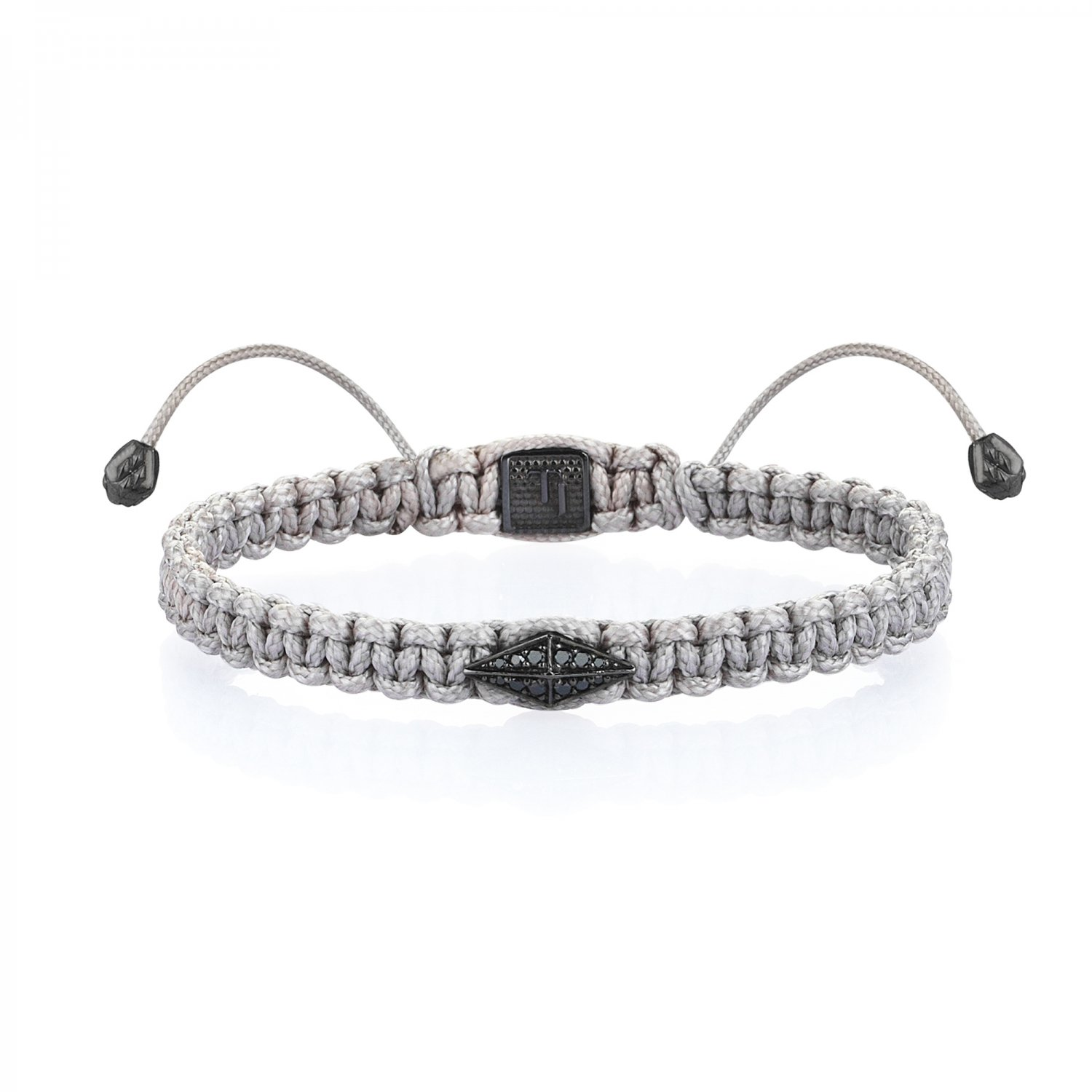 Gray Macrame Iconic Diamondback (1) Silver Bracelet in Black Rhodium with Black Diamonds