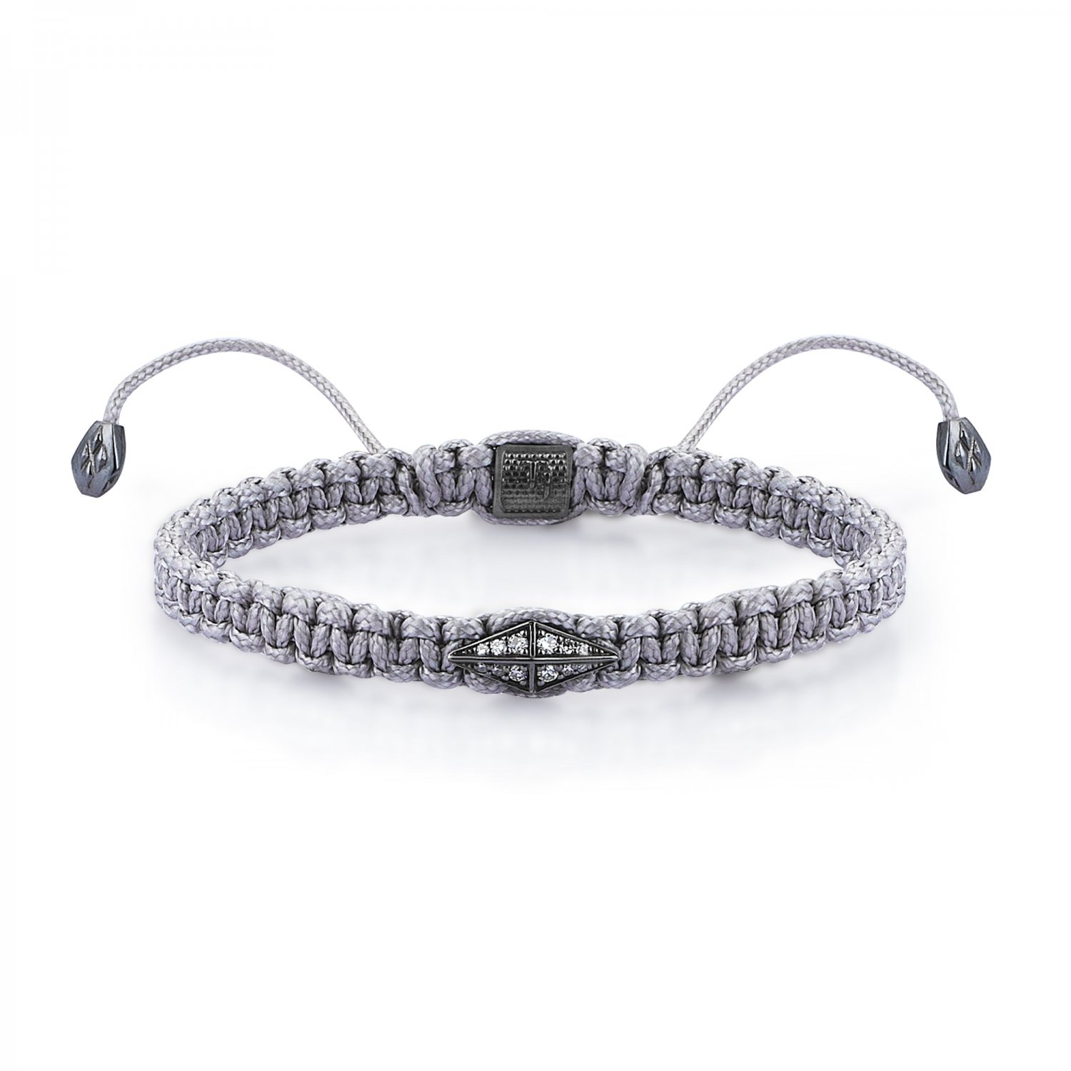 Gray Macrame Iconic Diamondback (1) Silver Bracelet in Black Rhodium with Diamonds