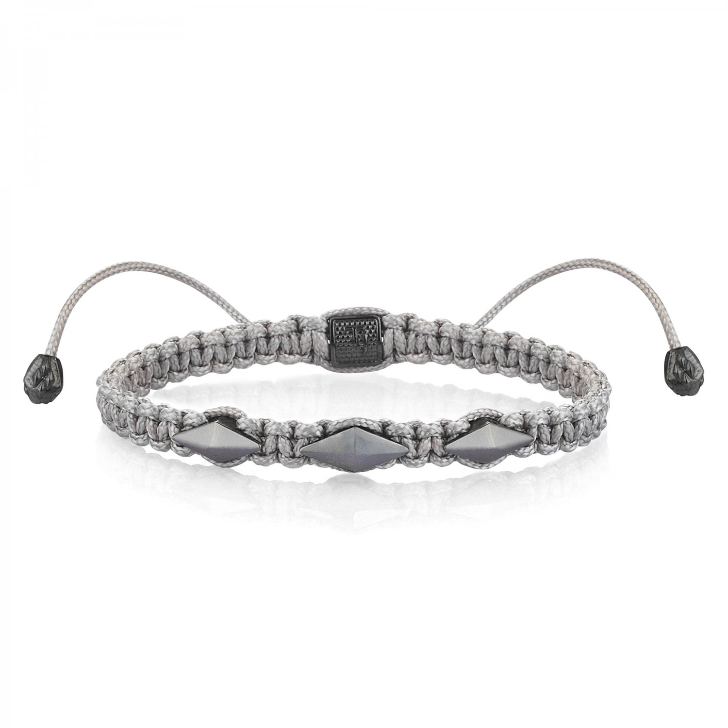 Gray Macrame Iconic Diamondback (3) Silver Bracelet in Black