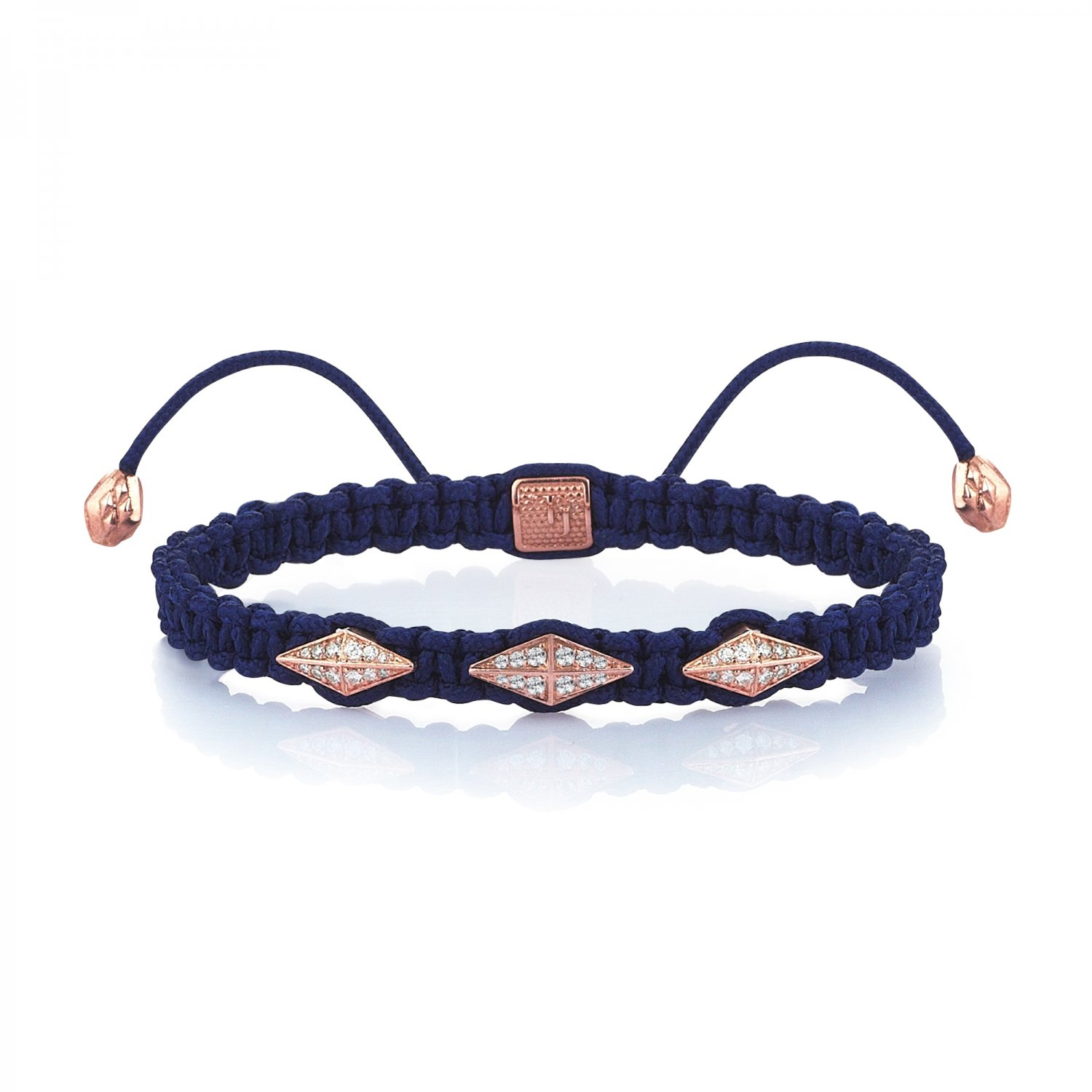 Blue Macrame Iconic Diamondback (3) Silver Bracelet in Rose with Full Diamonds