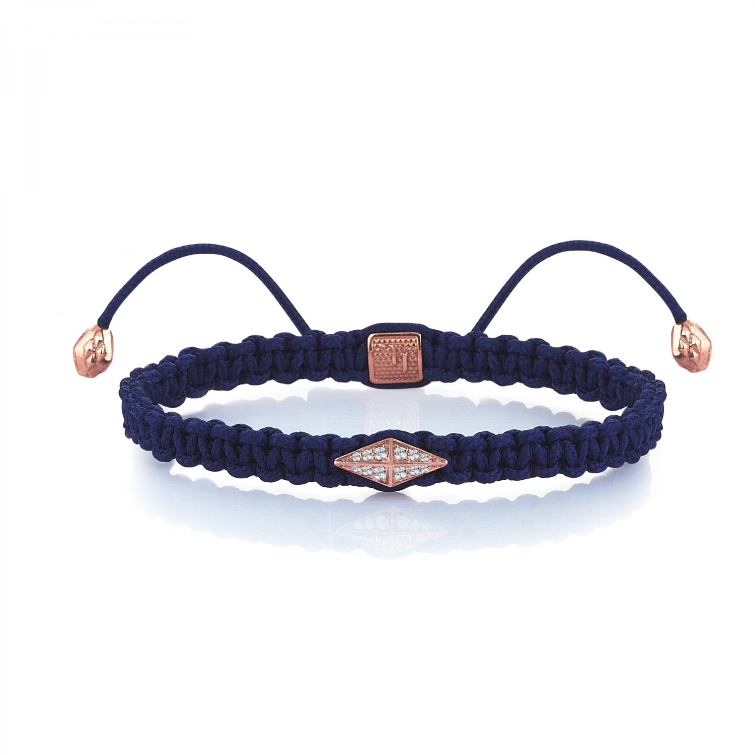 Blue Macrame Iconic Diamondback (1) Silver Bracelet in Rose with Diamonds