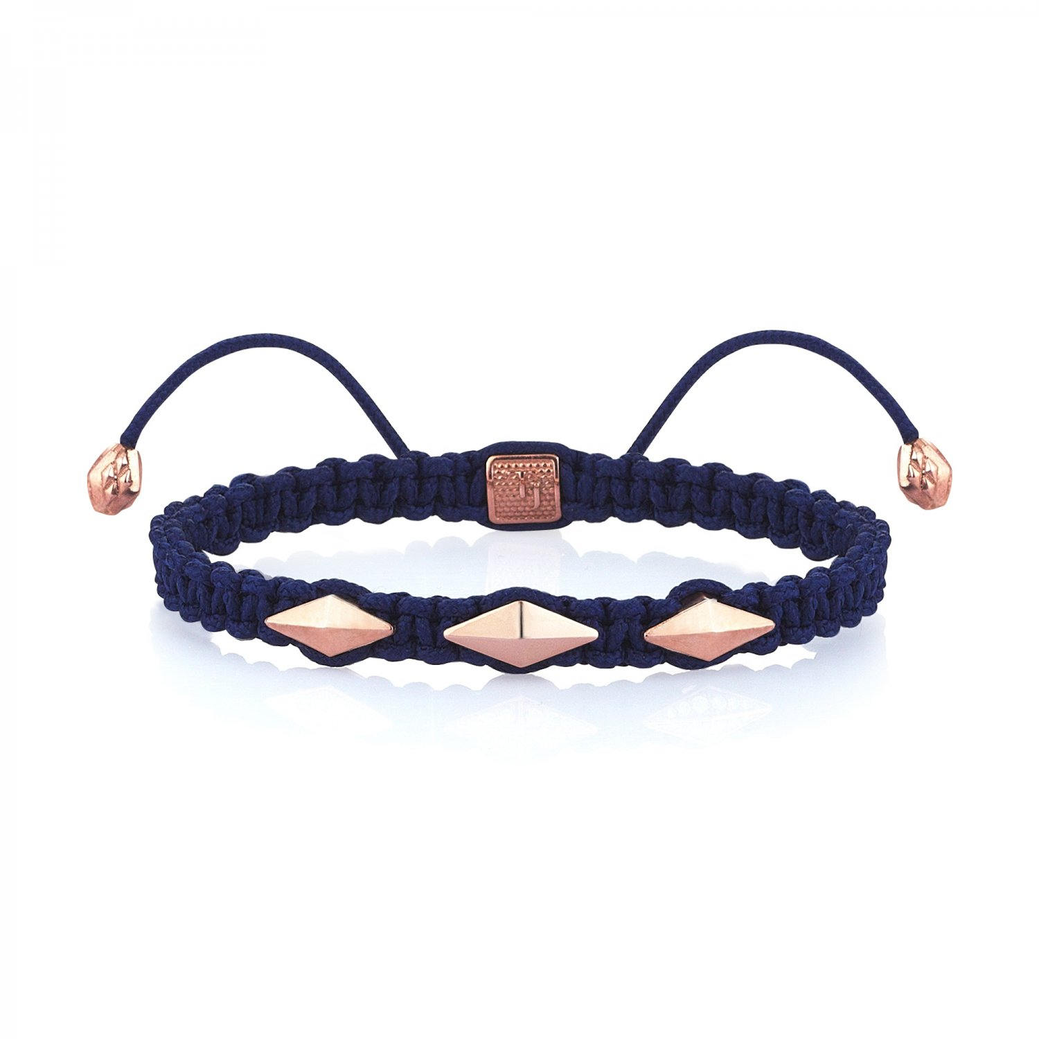 Blue Macrame Iconic Diamondback (3) Silver Bracelet in Rose