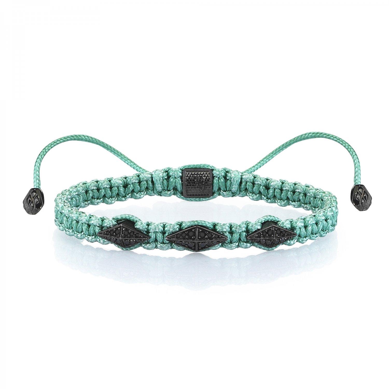 Green Macrame Iconic Diamondback (3) Silver Bracelet in Black Rhodium with Full Black Diamonds