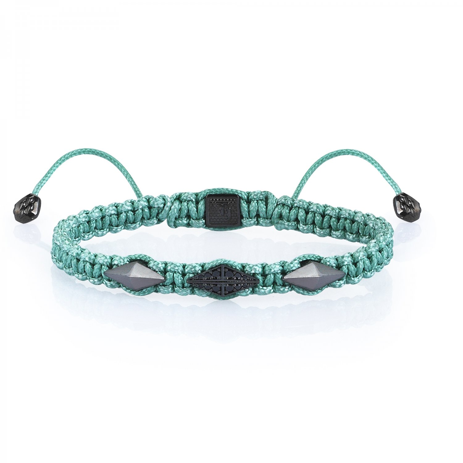 Green Macrame Iconic Diamondback (3) Silver Bracelet in Black Rhodium with Black Diamonds