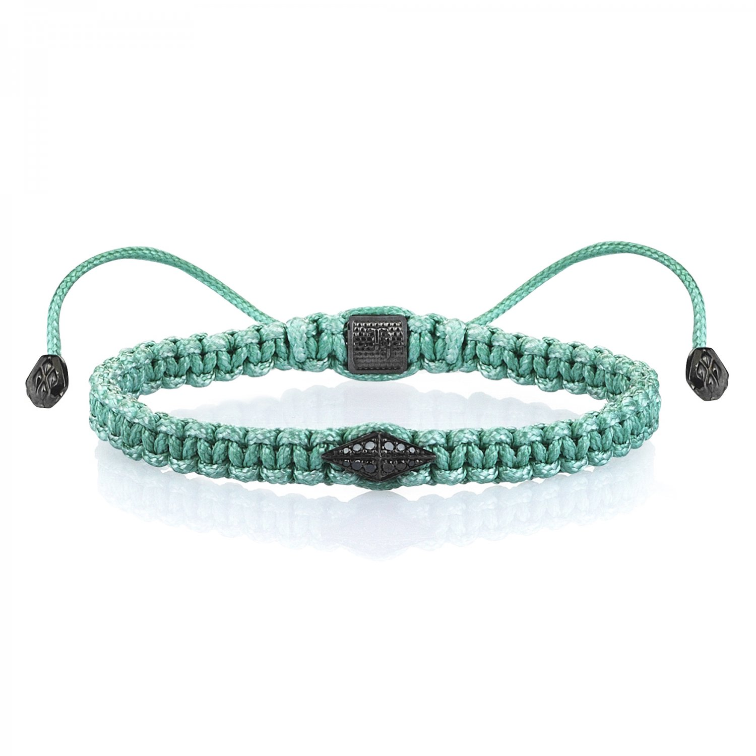 Green Macrame Iconic Diamondback (1) Silver Bracelet in Black Rhodium with Black Diamonds