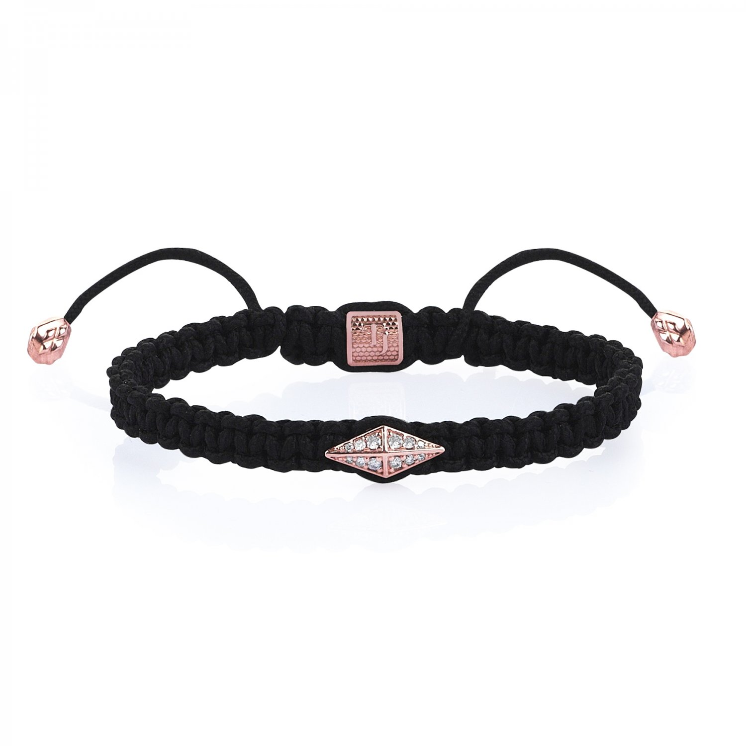 Black Macrame Iconic Diamondback (1) Silver Bracelet in Rose with Diamonds