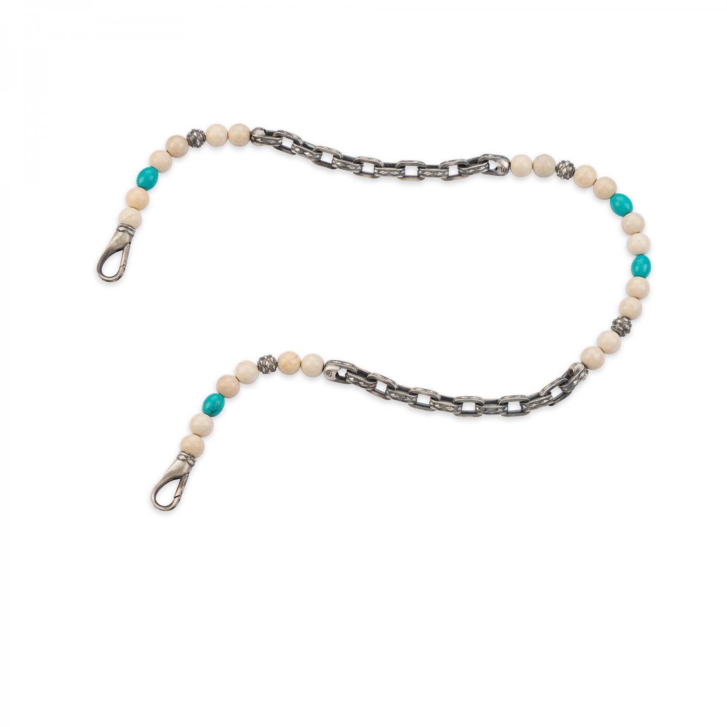 Oxidised Silver Cubic Trouser Chain with River Stone & Turquoise Beads, 10.00mm