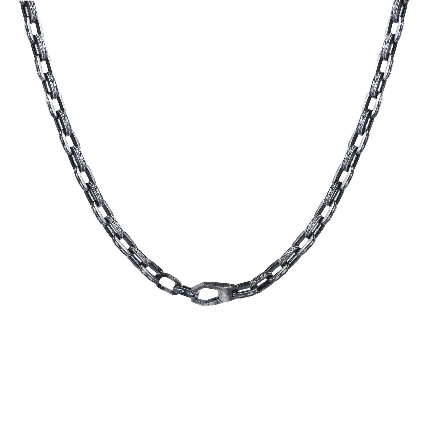 Oxidised Silver Cubic Chain Necklace