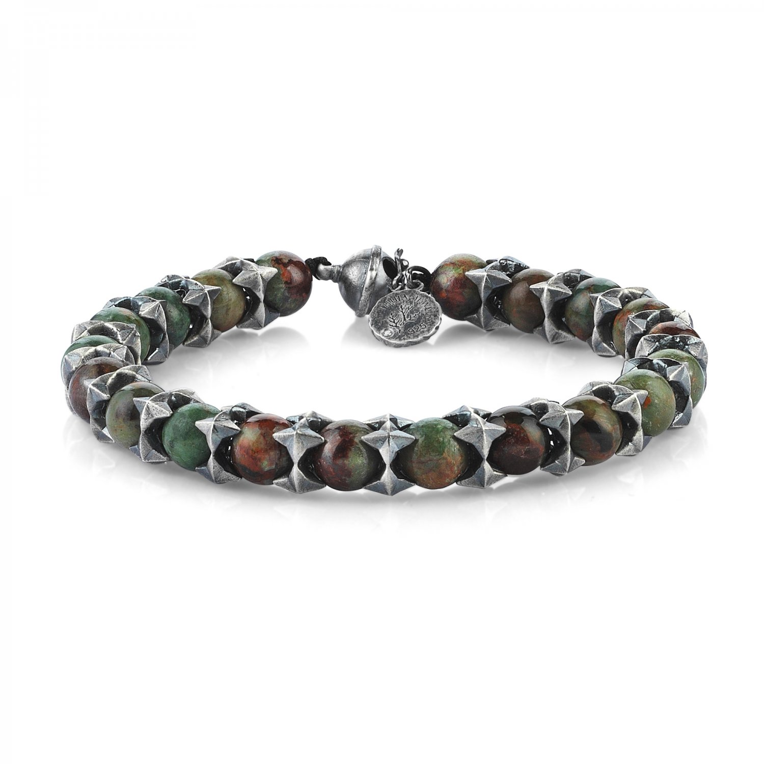 Oxidised Silver Cubic Cage Bracelet with Green Opal Beads, 8.00mm