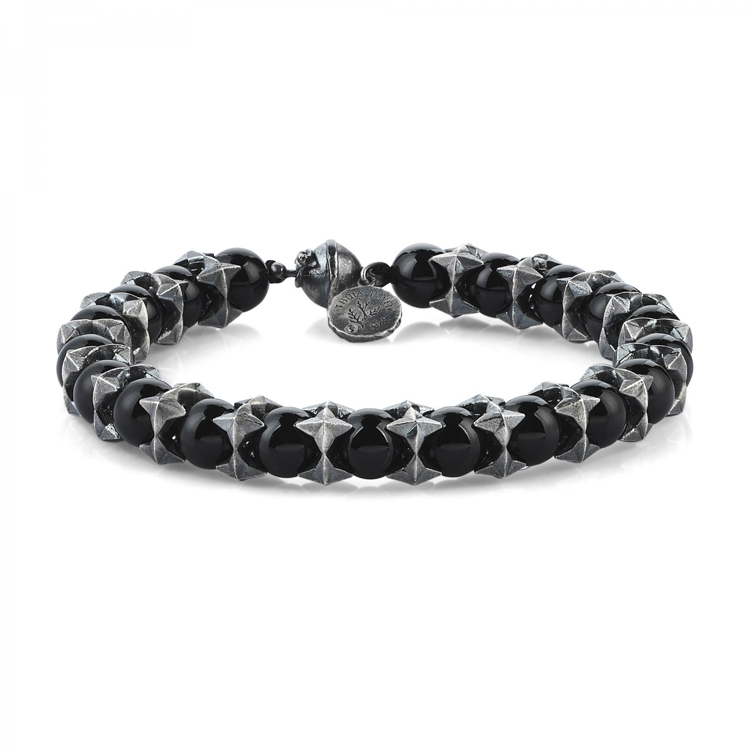 Oxidised Silver Cubic Cage Bracelet with Black Onyx Beads, 8.00mm