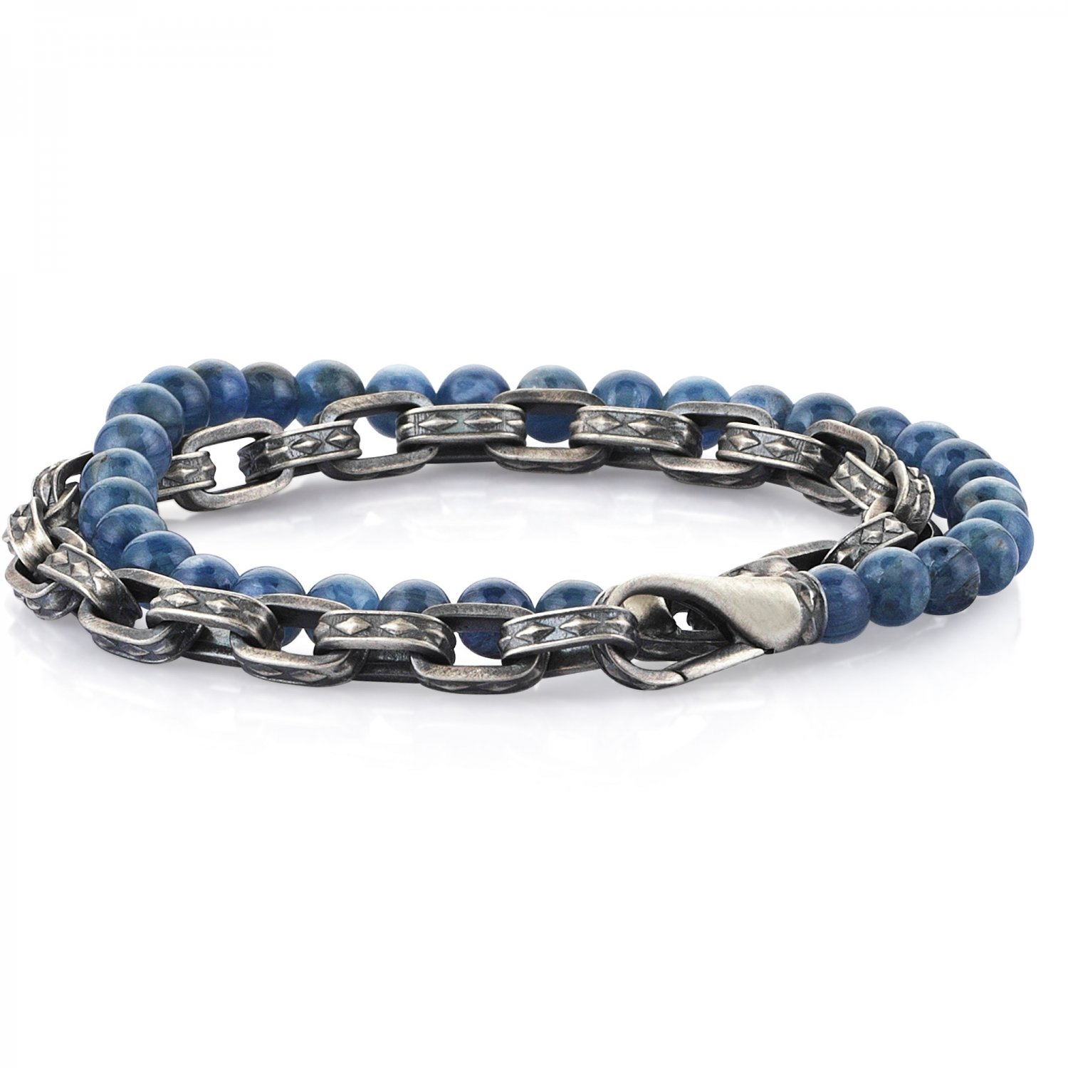 Oxidised Silver Cubic Chain Bracelet with Kıyanite Beads, 6.00mm