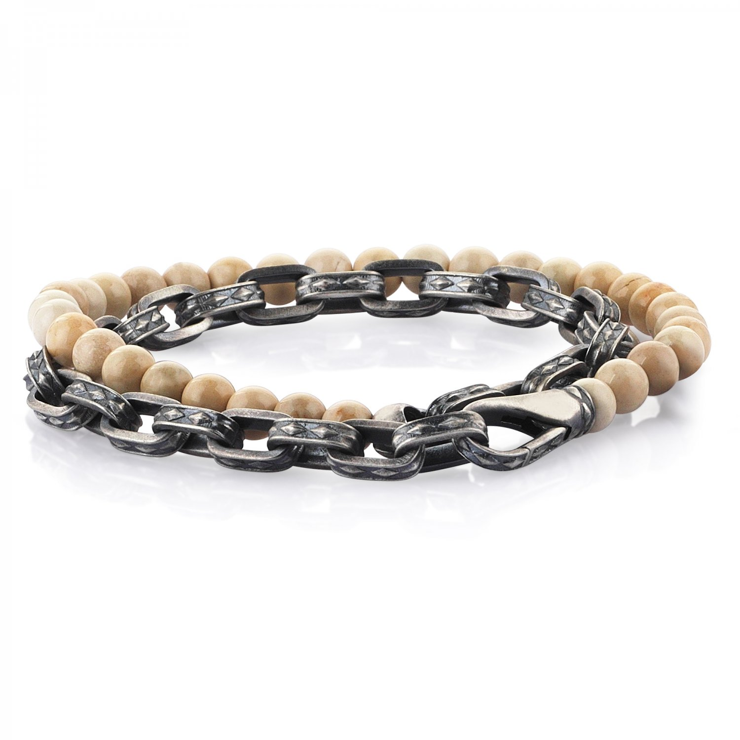 Oxidised Silver Cubic Chain Bracelet with River Stone Beads, 6.00mm