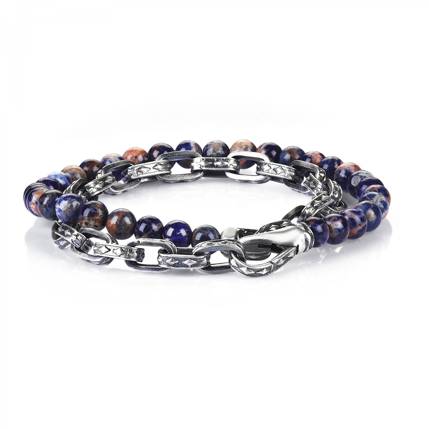 Oxidised Silver Cubic Chain Bracelet with Bolivian Sodalite Beads, 6.00mm