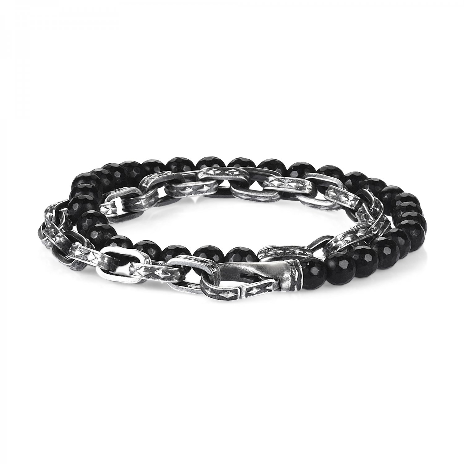 Oxidised Silver Cubic Chain Bracelet w/ Faceted Black Onyx Beads, 6.00mm