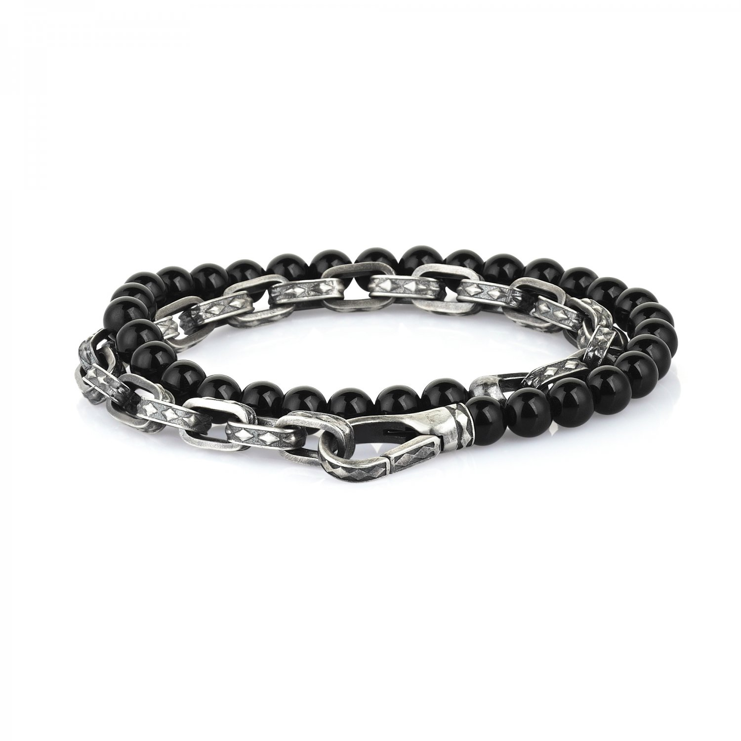 Oxidised Silver Cubic Chain Bracelet with Black Onyx Beads, 6.00mm