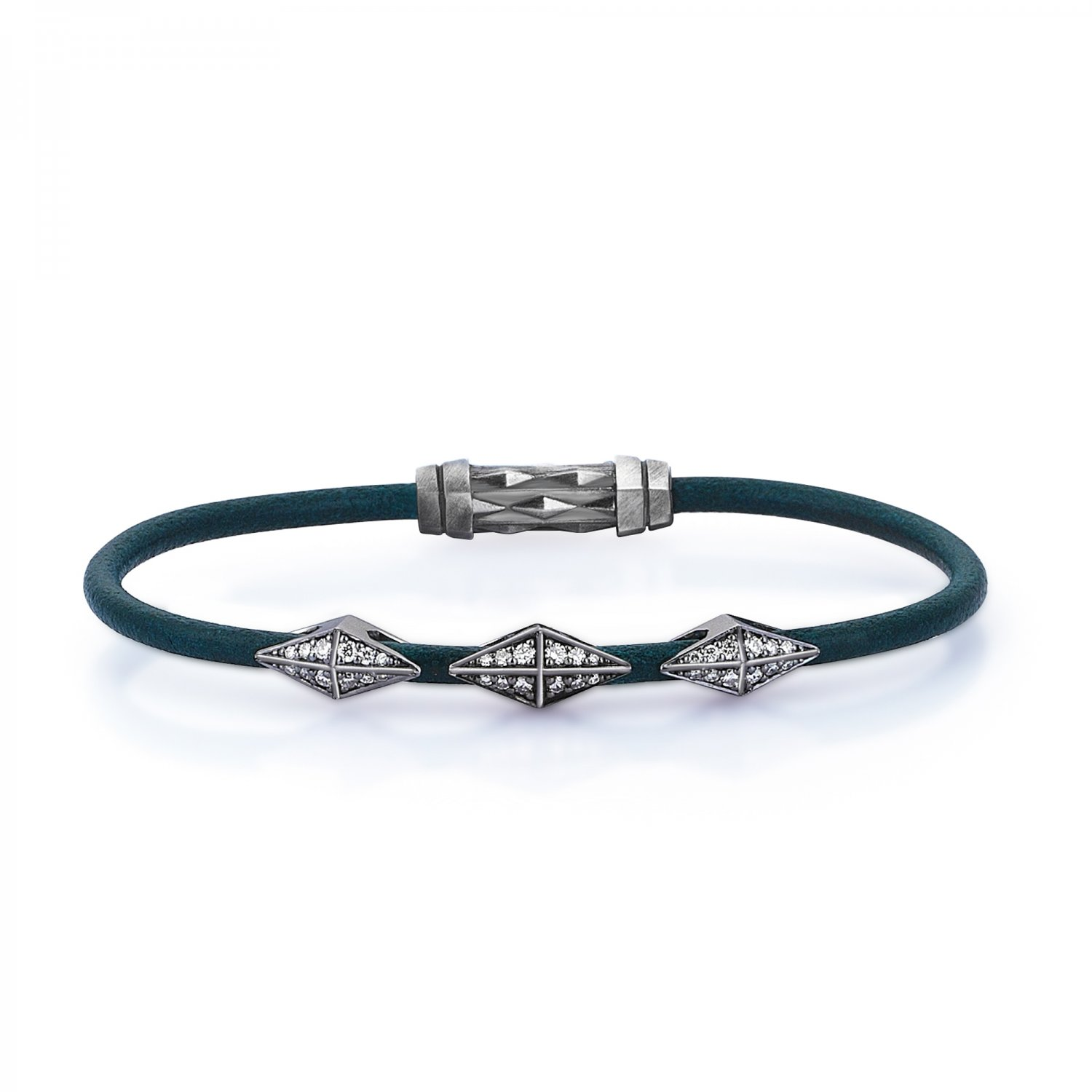 Single Lap Natural Turquoise Leather Iconic Diamondback Silver Bracelet in Black Rhodium with Full Diamonds