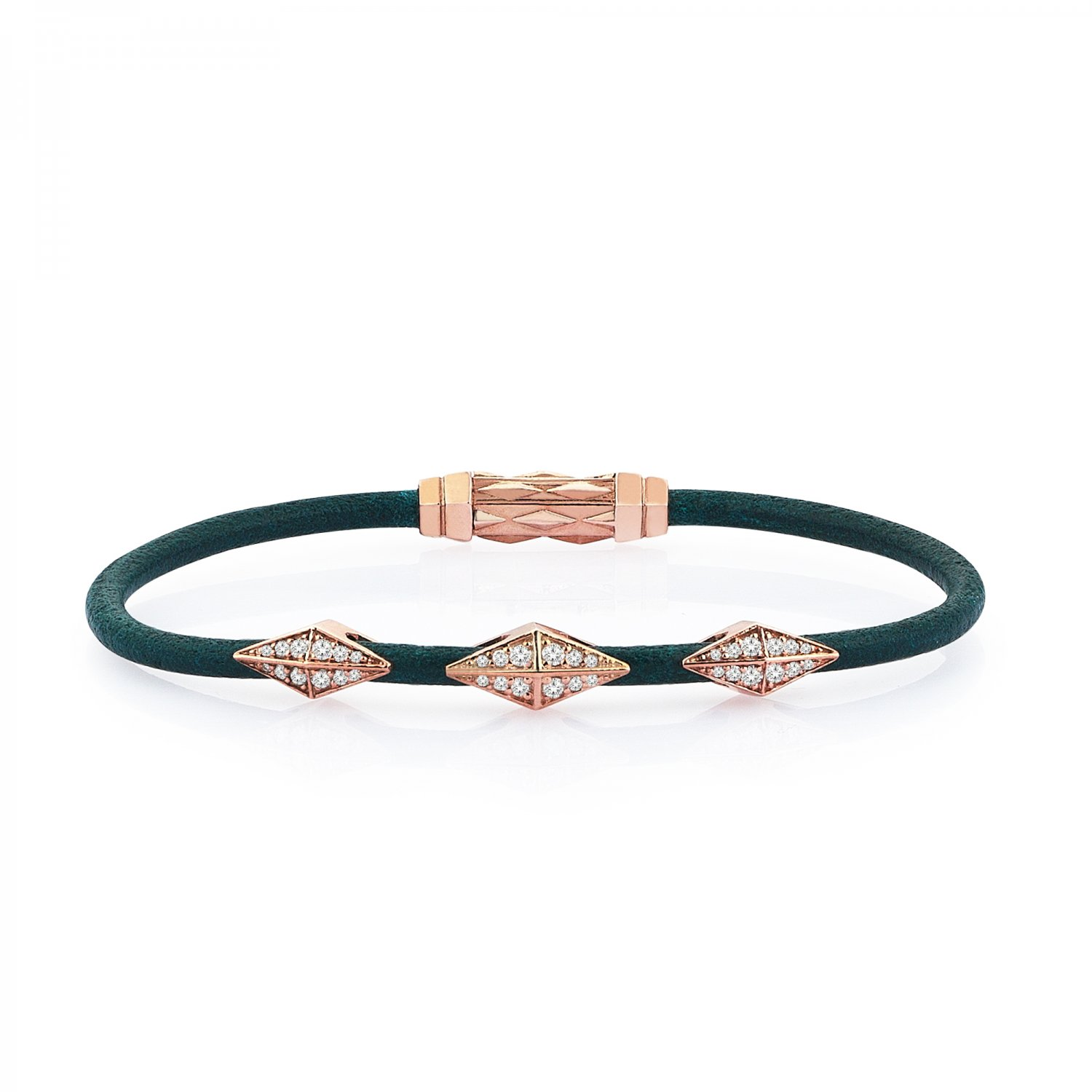Single Lap Natural Turquoise Leather Iconic Diamondback Silver  Bracelet in Rose with Full Diamonds