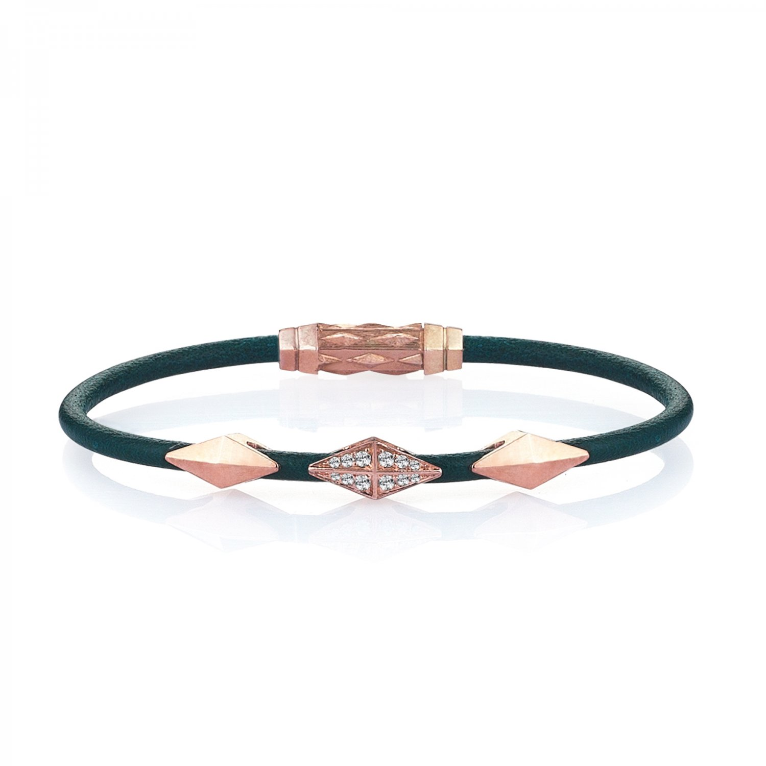 Single Lap Natural Turquoise Leather Iconic Diamondback Silver Bracelet in Rose with Diamonds