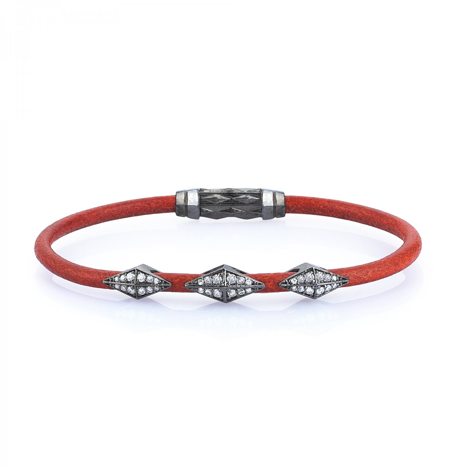 Single Lap Natural Orange Leather Iconic Diamondback Silver Bracelet in Black Rhodium with Full Diamonds
