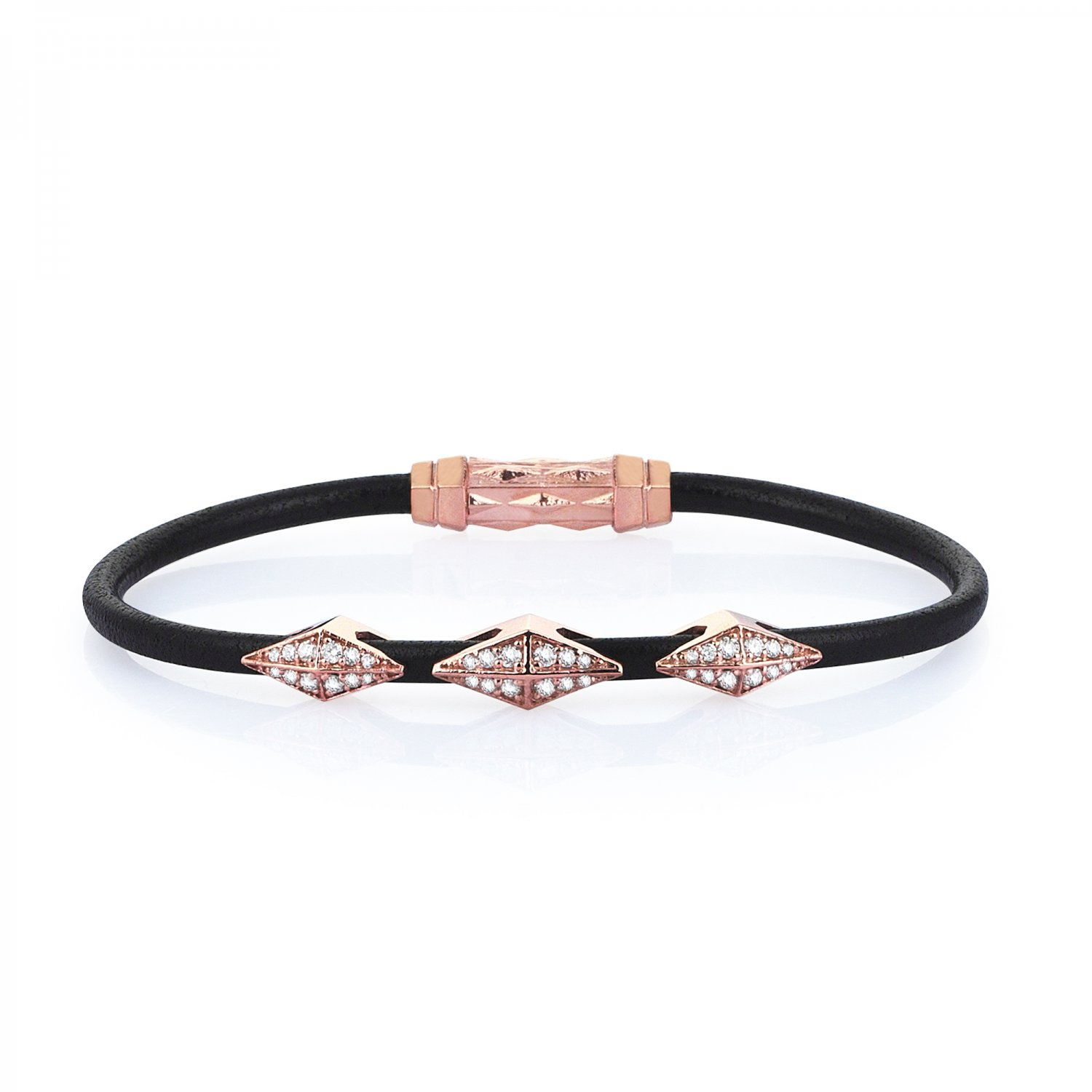 Single Lap Natural Black Leather Iconic Diamondback Silver Bracelet in Rose with Full Diamonds