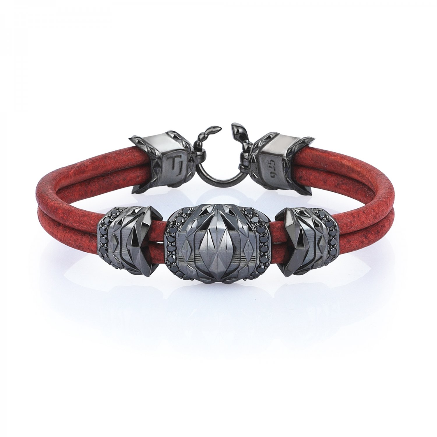 Natural Vintage Brick Leather Silver Cubic Bracelet in Black Rhodium with Black Diamonds