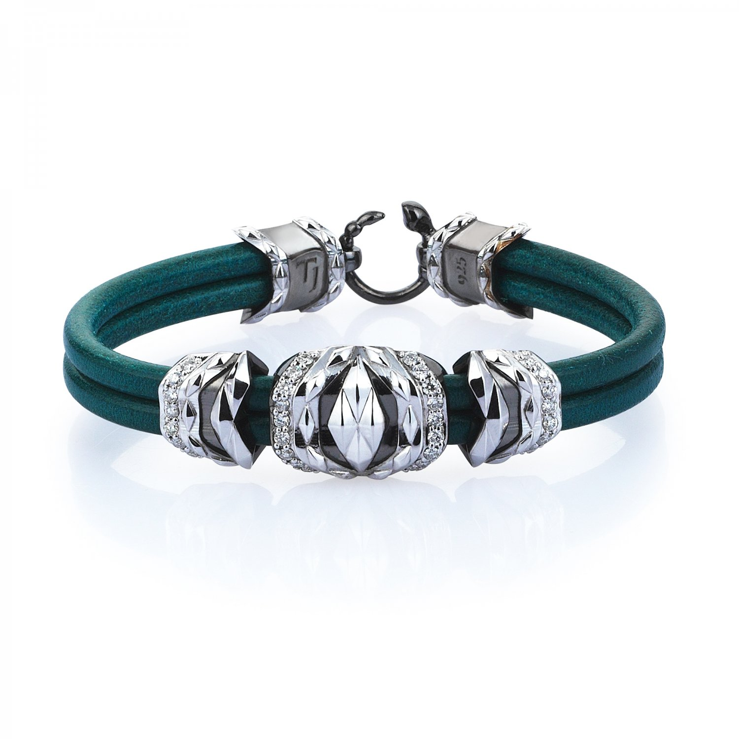 Natural Turquoise Leather Silver Cubic Bracelet in Black & White Rhodium with Diamonds
