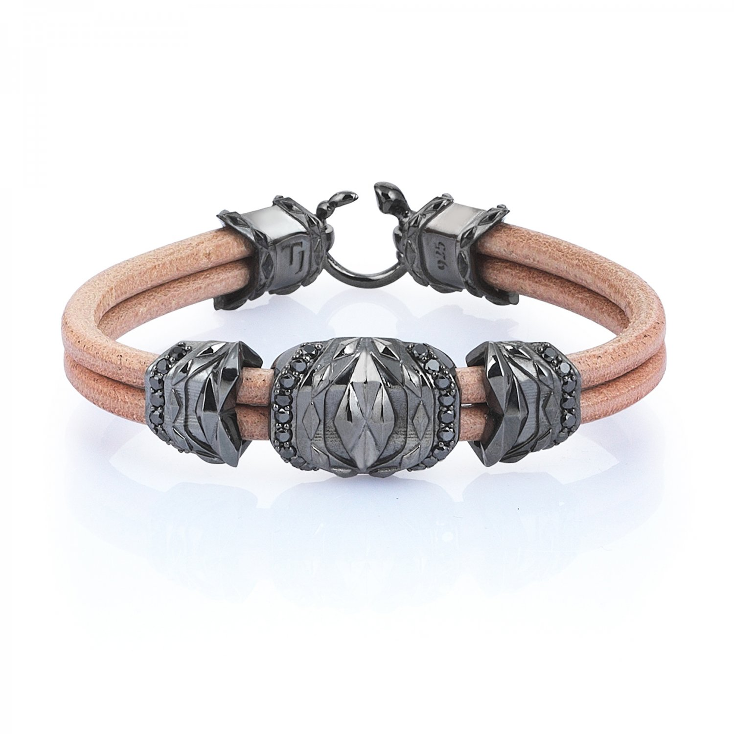 Natural Beige Leather Silver Cubic Bracelet in Black Rhodium with Black Diamonds