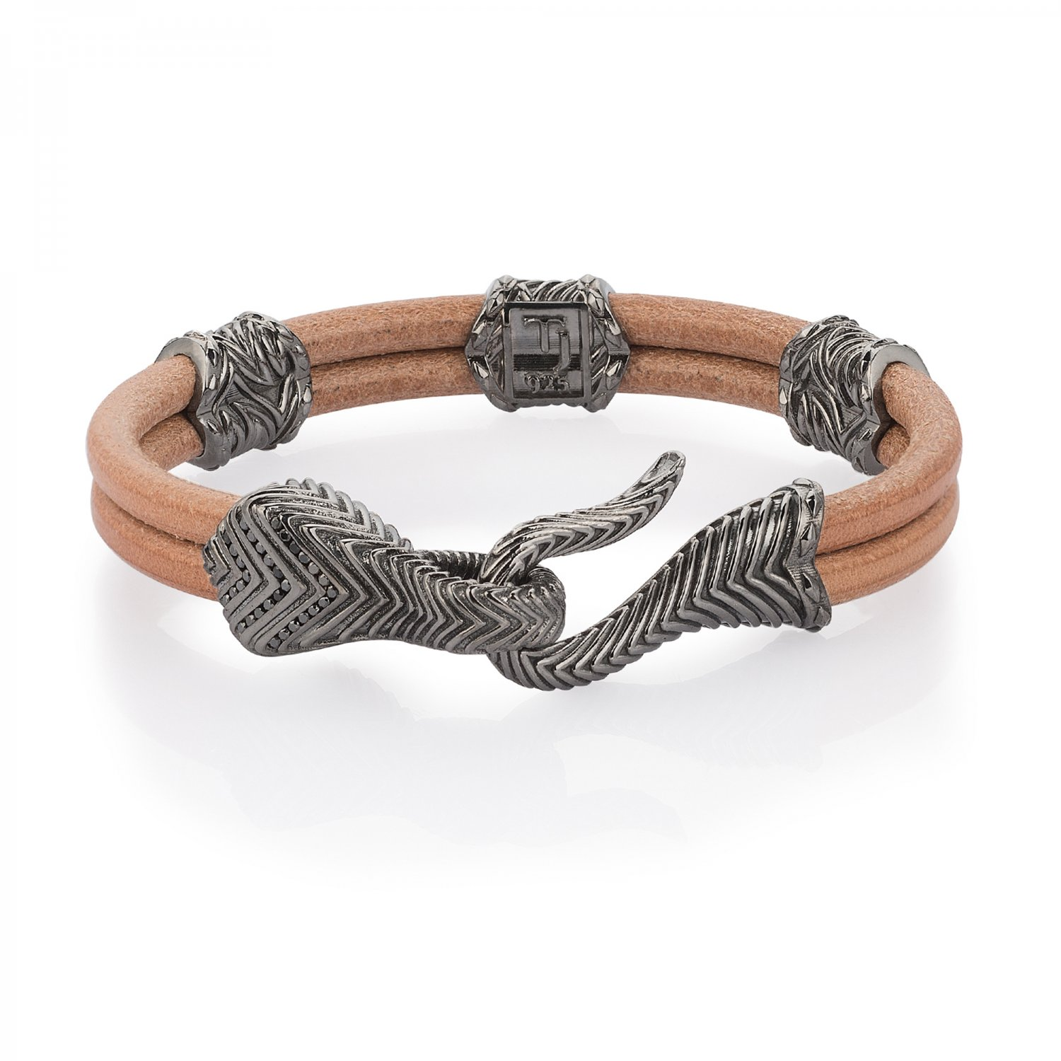 Sterling Silver Serpi Bracelet with Black Diamonds in Natural Beige Leather