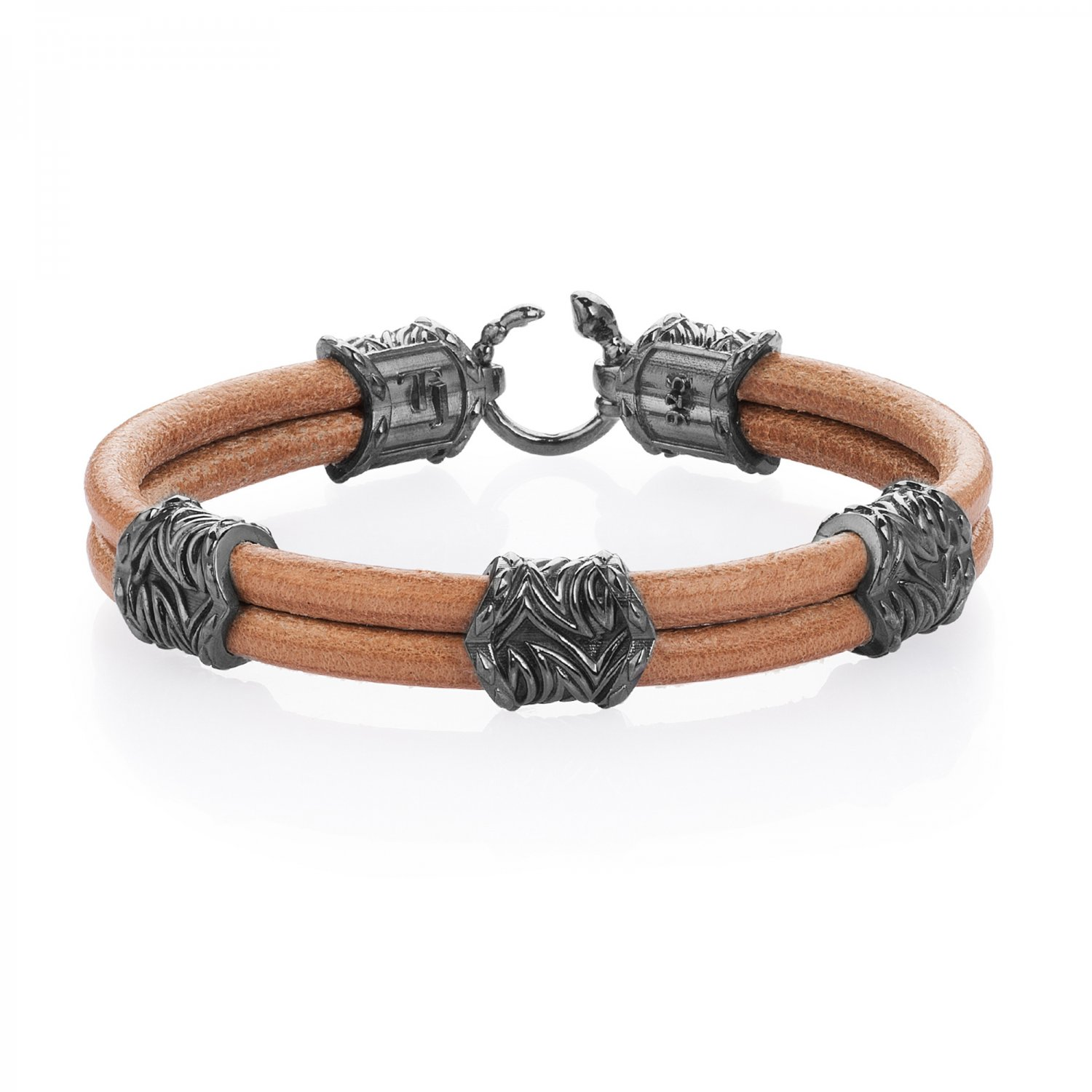 Sterling Silver Serpi Style Bracelet in Natural Beige Leather
