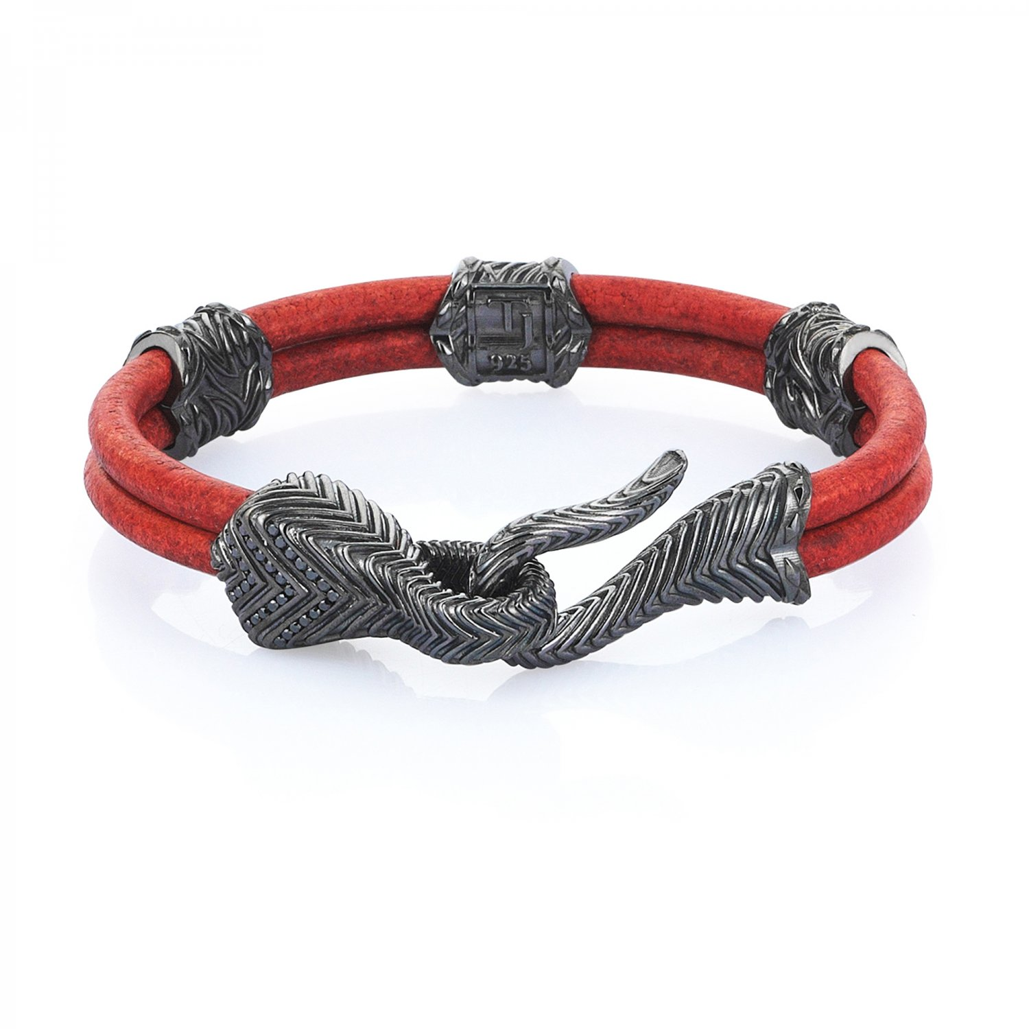 Sterling Silver Serpi Bracelet with Black Diamonds in Natural Brick Leather