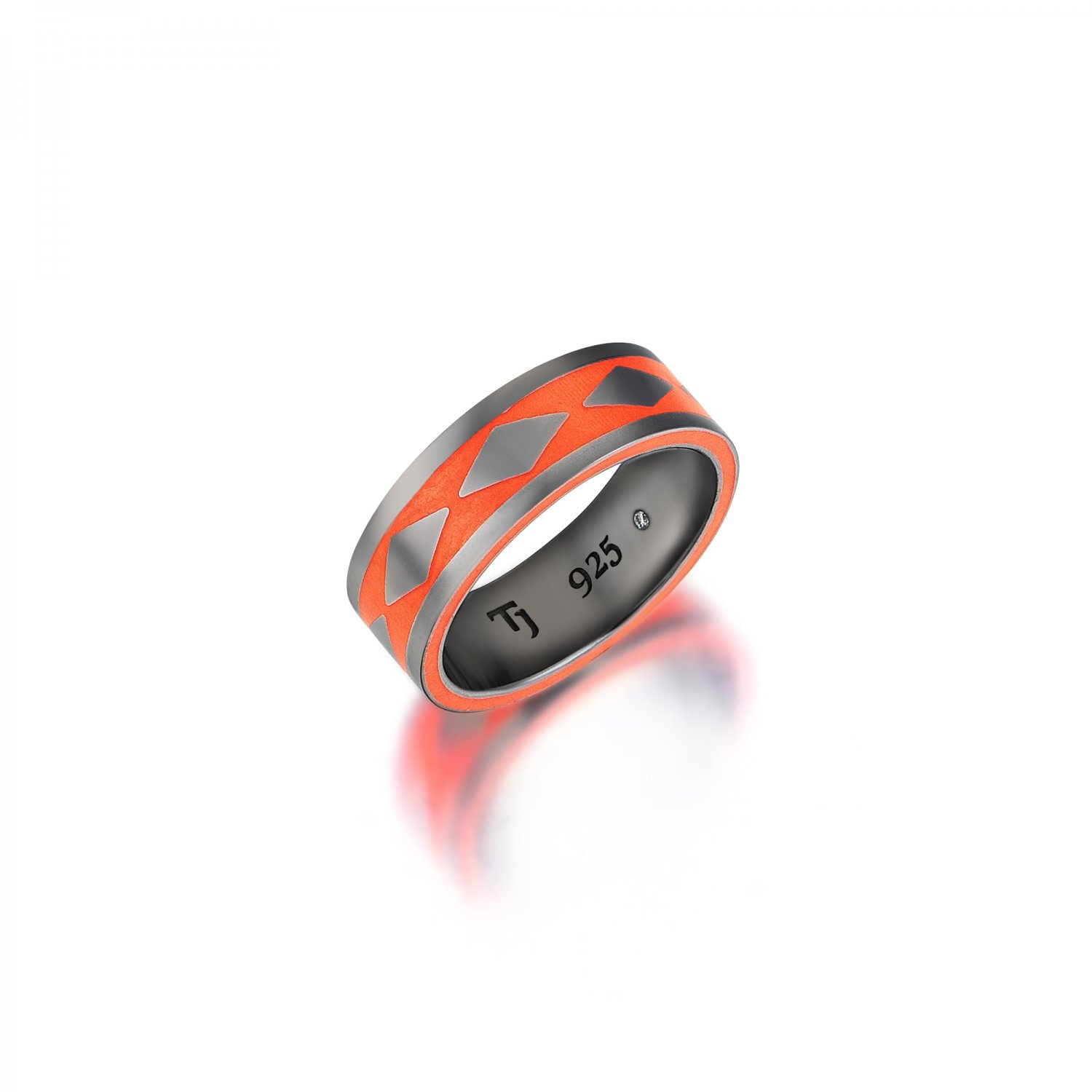 Cubic Snake Band in Silver - 7,70mm - ORANGE - Sides Enamel