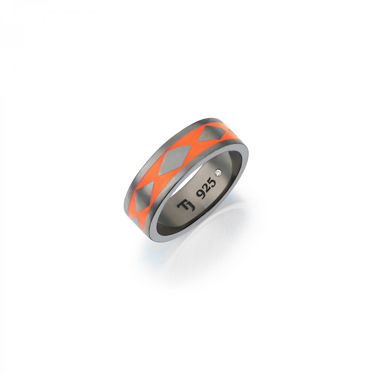 Cubic Snake Band in Silver - 7,70mm - ORANGE