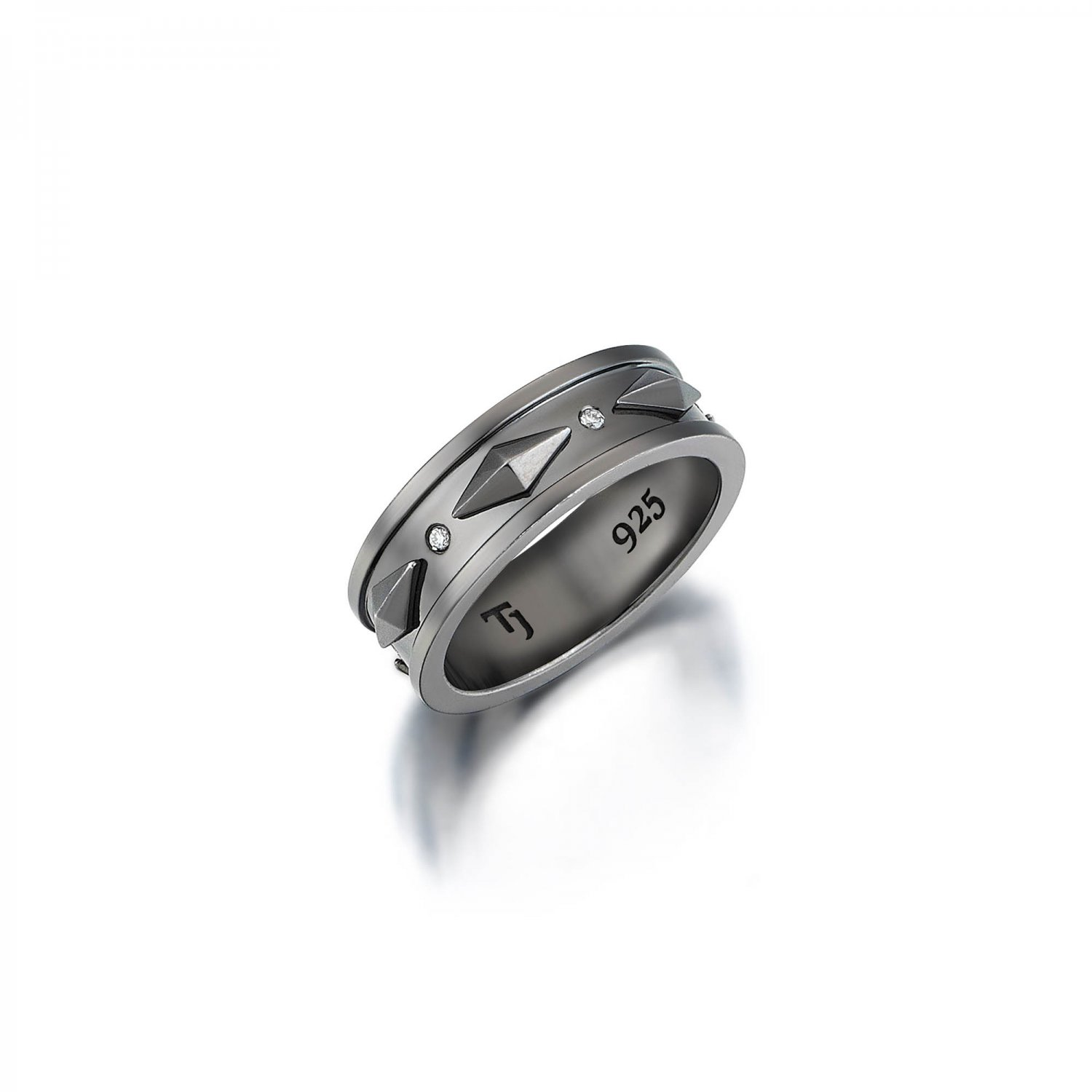 Sterling Silver Cubic Snake Band with Diamonds in Black Rhodium - 8,00mm