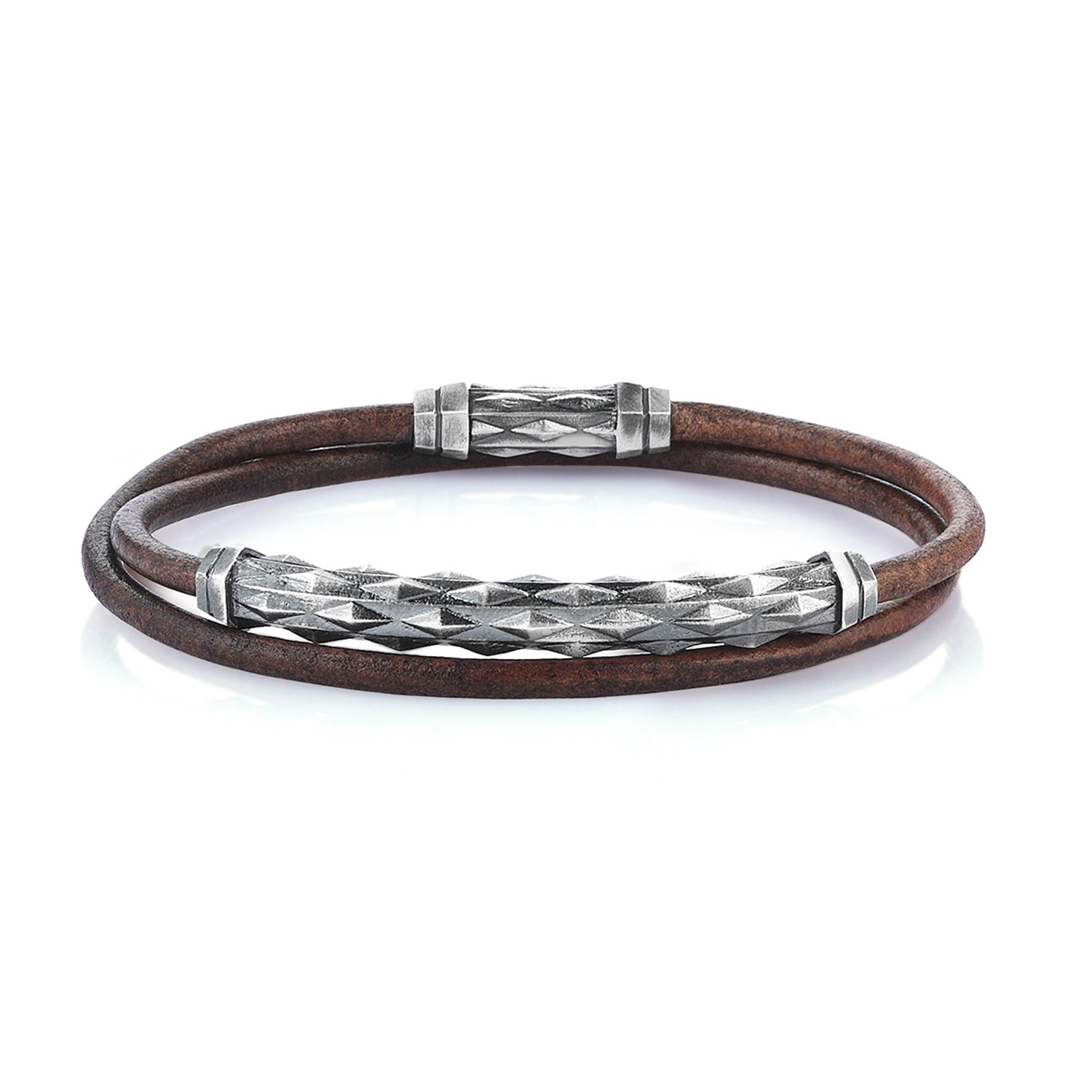 Double Lap Natural Vintage Leather Oxidised Silver Diamondback Pipe Bracelet
