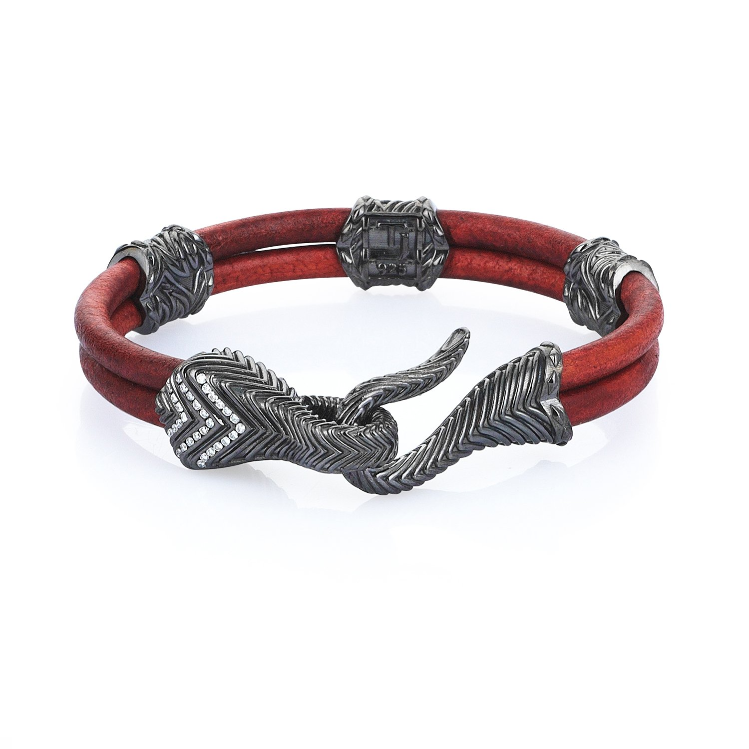 Sterling Silver Serpi Bracelet with Diamonds in Natural Brick Leather