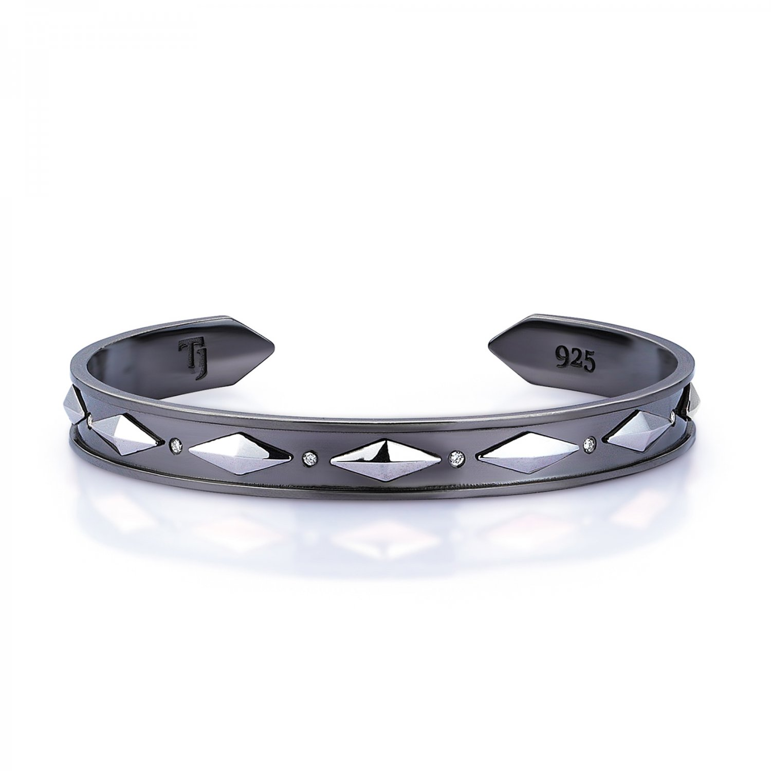 Sterling Silver Cubic Snake Cuff in Black and White Rhodium with Diamonds  - 9,00mm