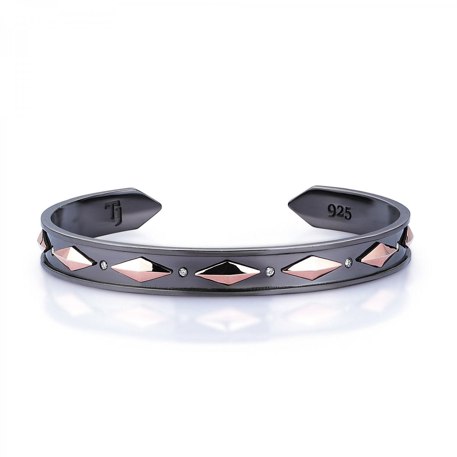 Sterling Silver Cubic Snake Cuff in Black and Rose with Diamonds - 9,00mm